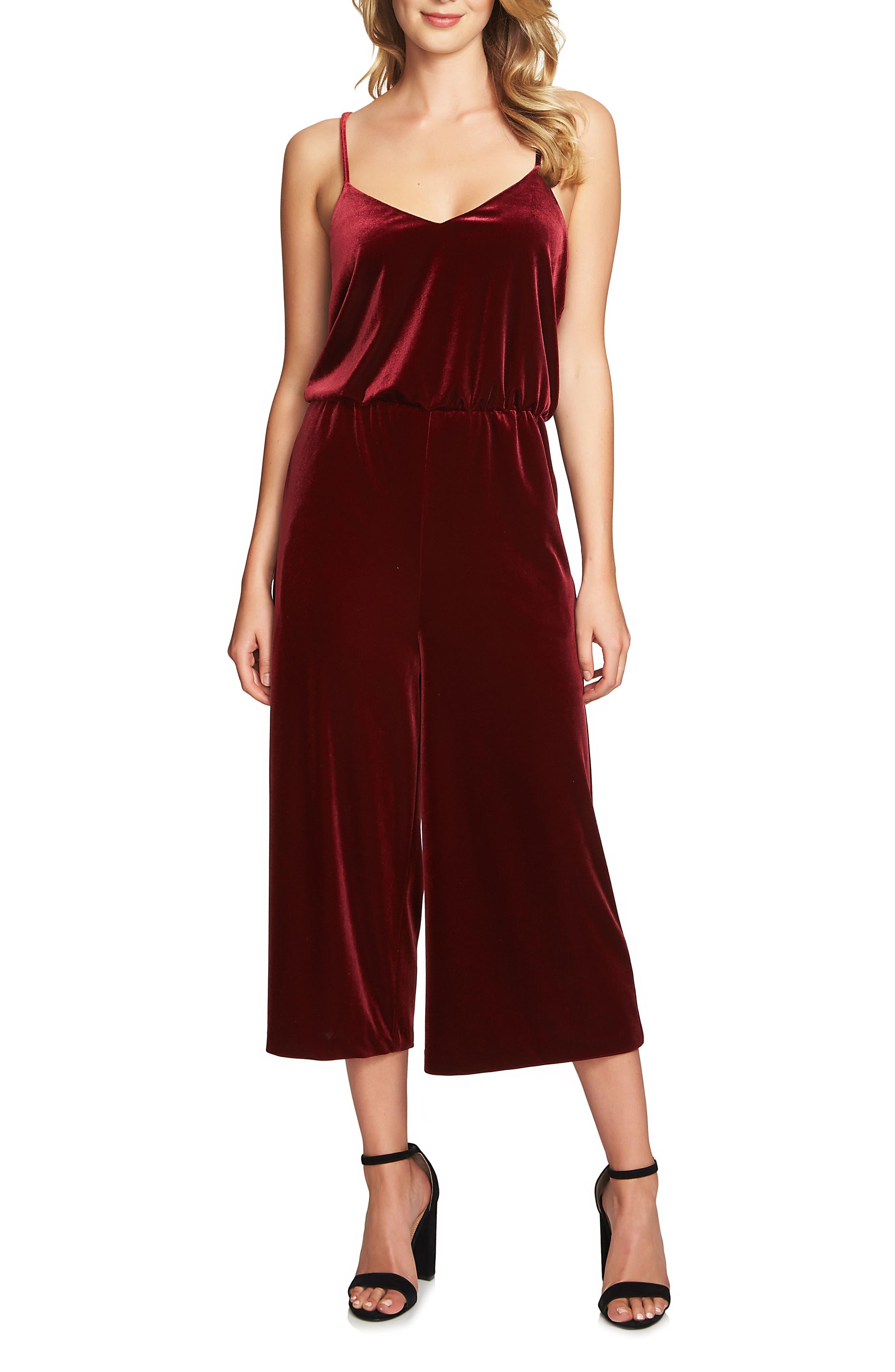 1.STATE Velvet Culotte Jumpsuit