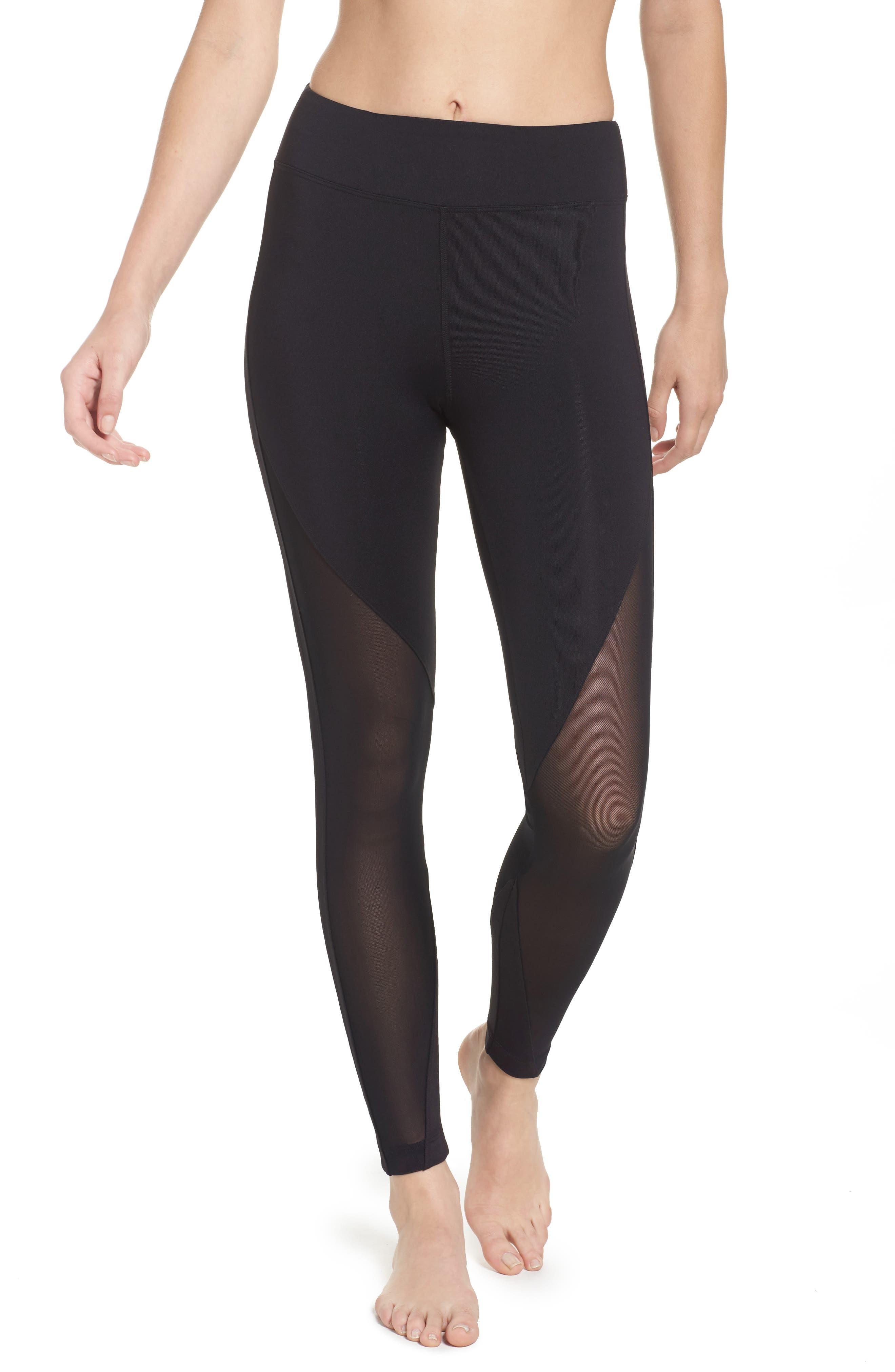 High Rise Lucent Crop Leggings,                         Main,                         color, Black