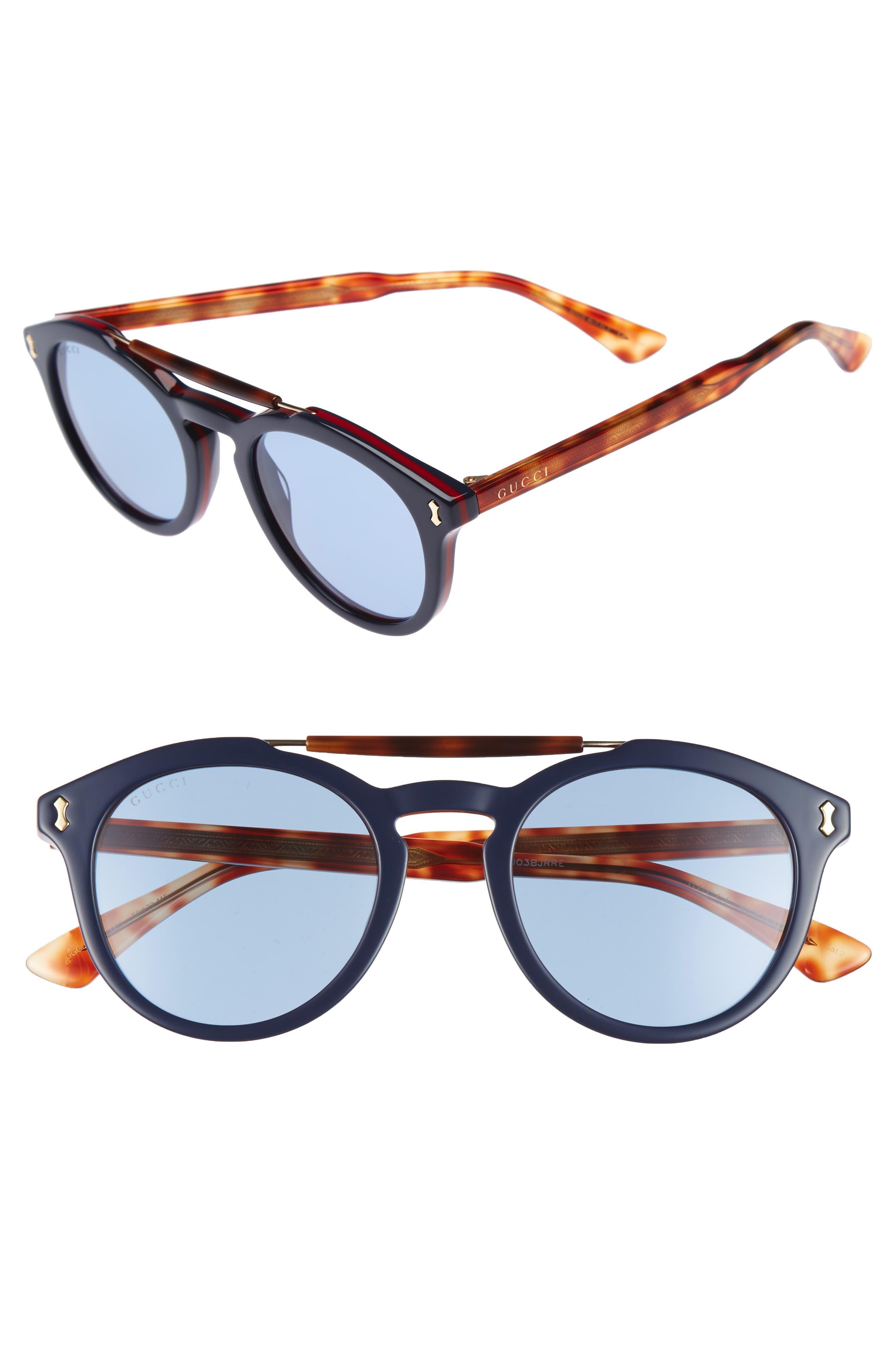 Vintage Pilot 50mm Sunglasses,                             Main thumbnail 1, color,                             Blue-Red/ Blue