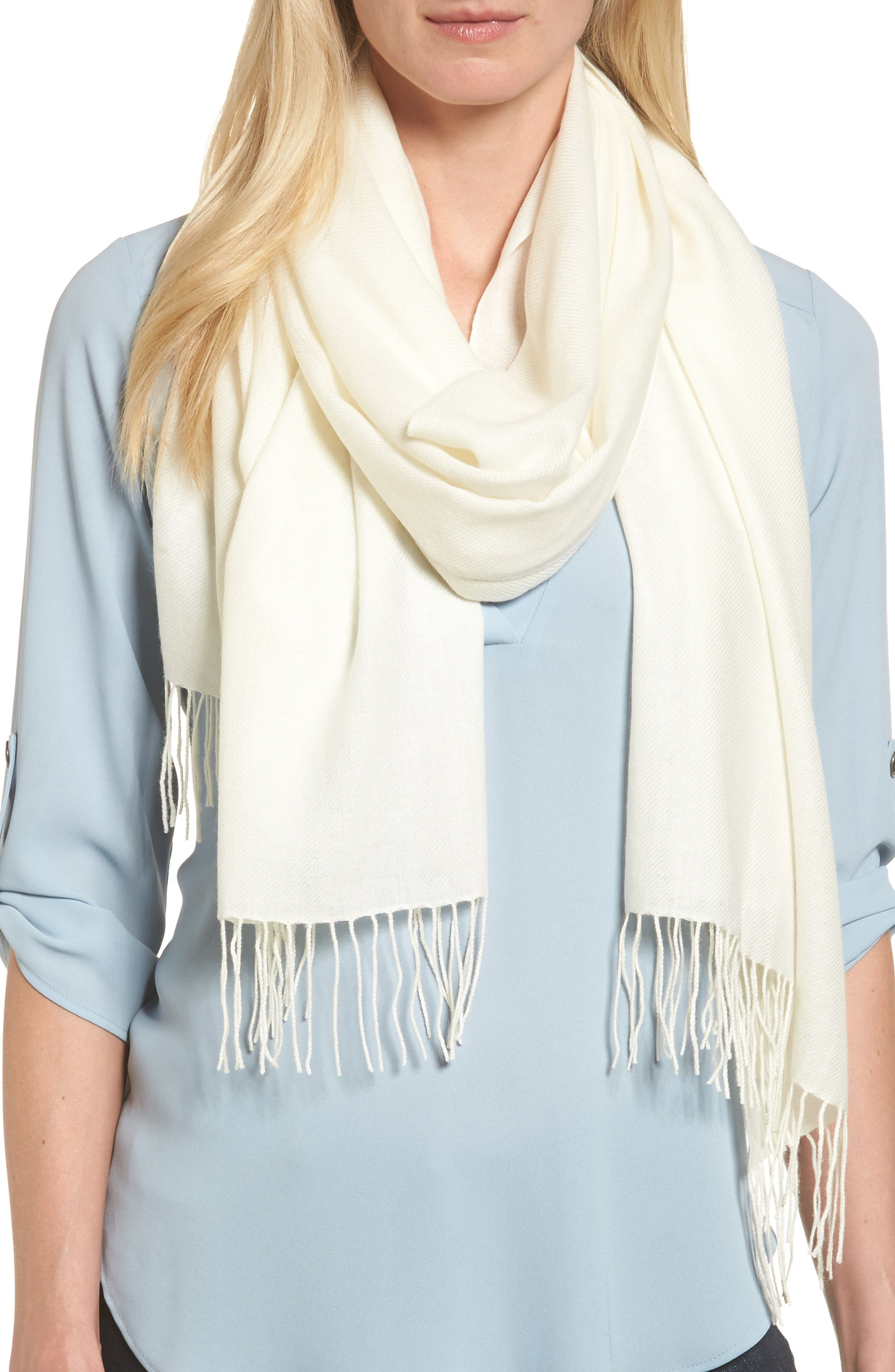 Alternate Image 1 Selected - Nordstrom Tissue Weight Wool & Cashmere Scarf