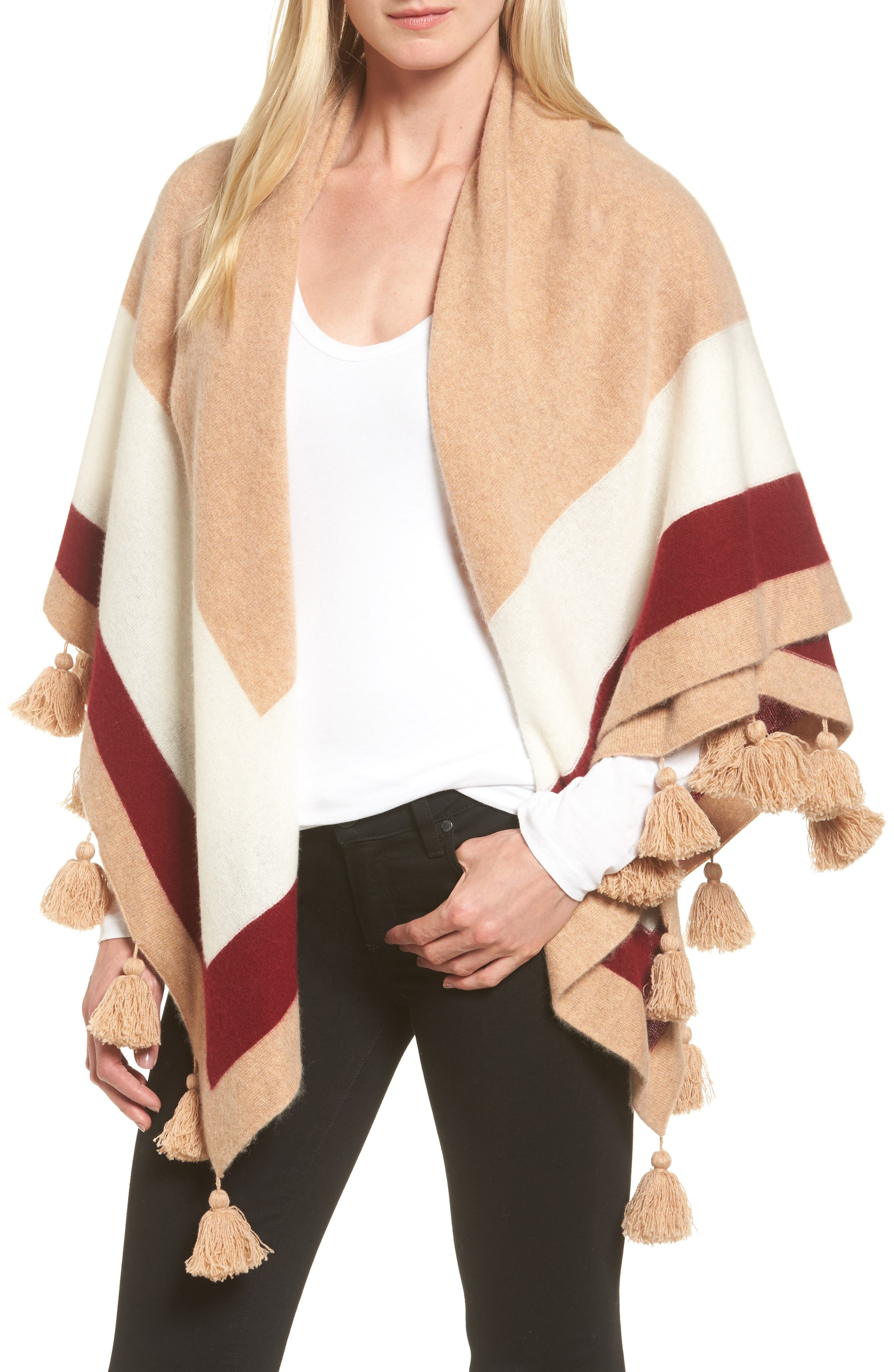Tassel Trim Cashmere Wrap,                             Main thumbnail 1, color,                             Tan Camel Heather Combo