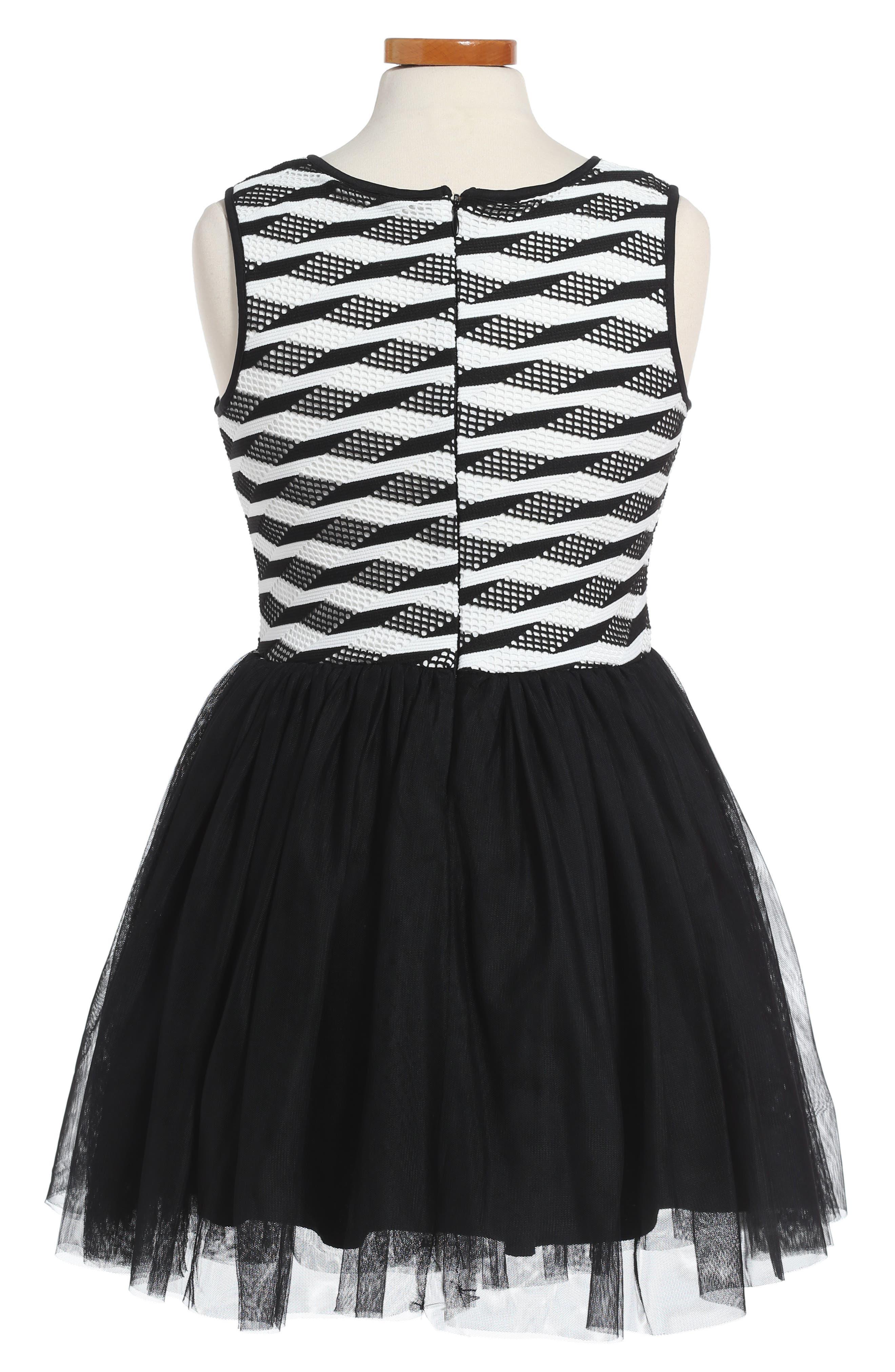 Stripe Tutu Dress,                             Alternate thumbnail 2, color,                             Black/ White