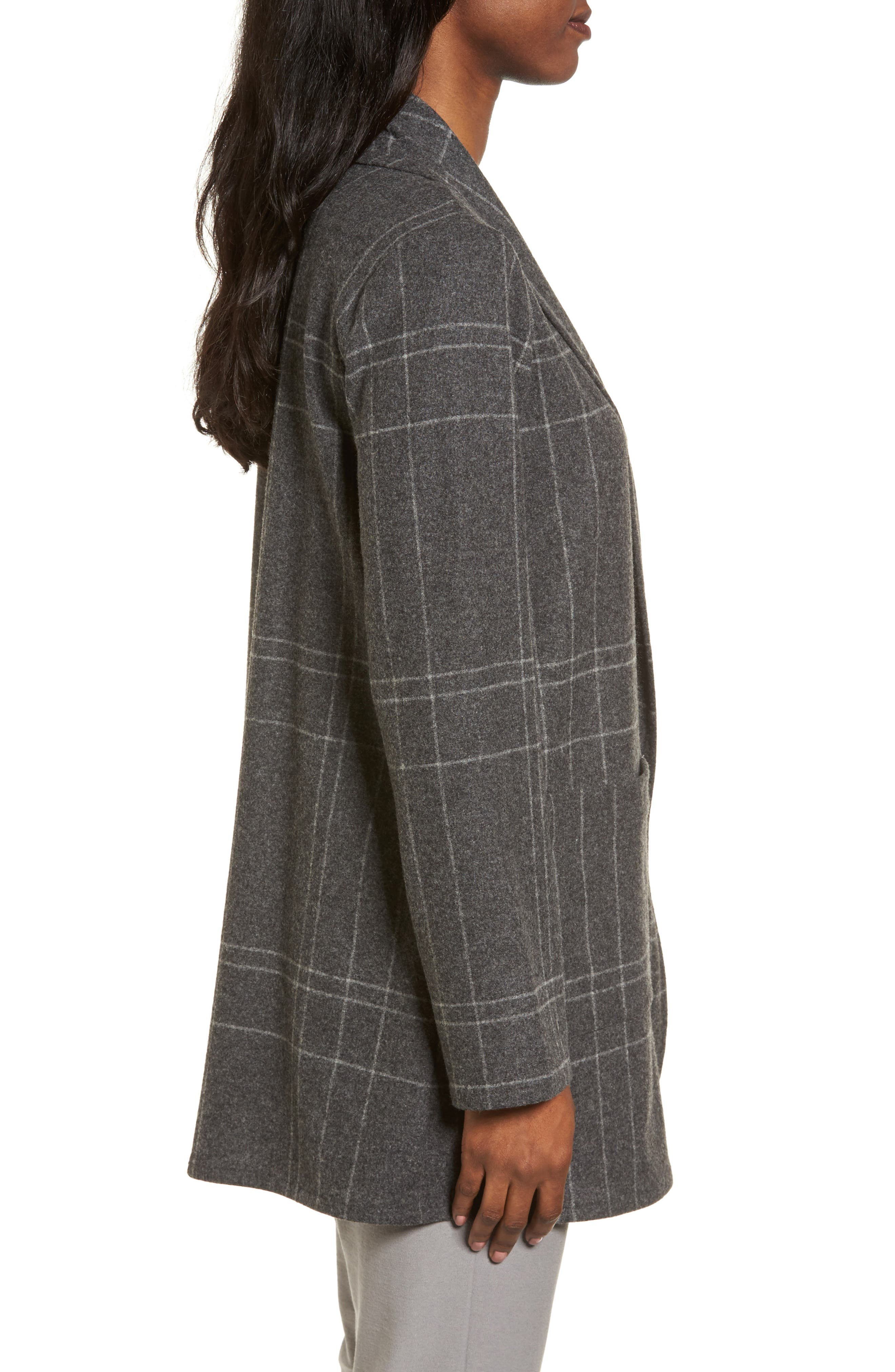Plaid Kimono Jacket,                             Alternate thumbnail 3, color,                             Dark Ash