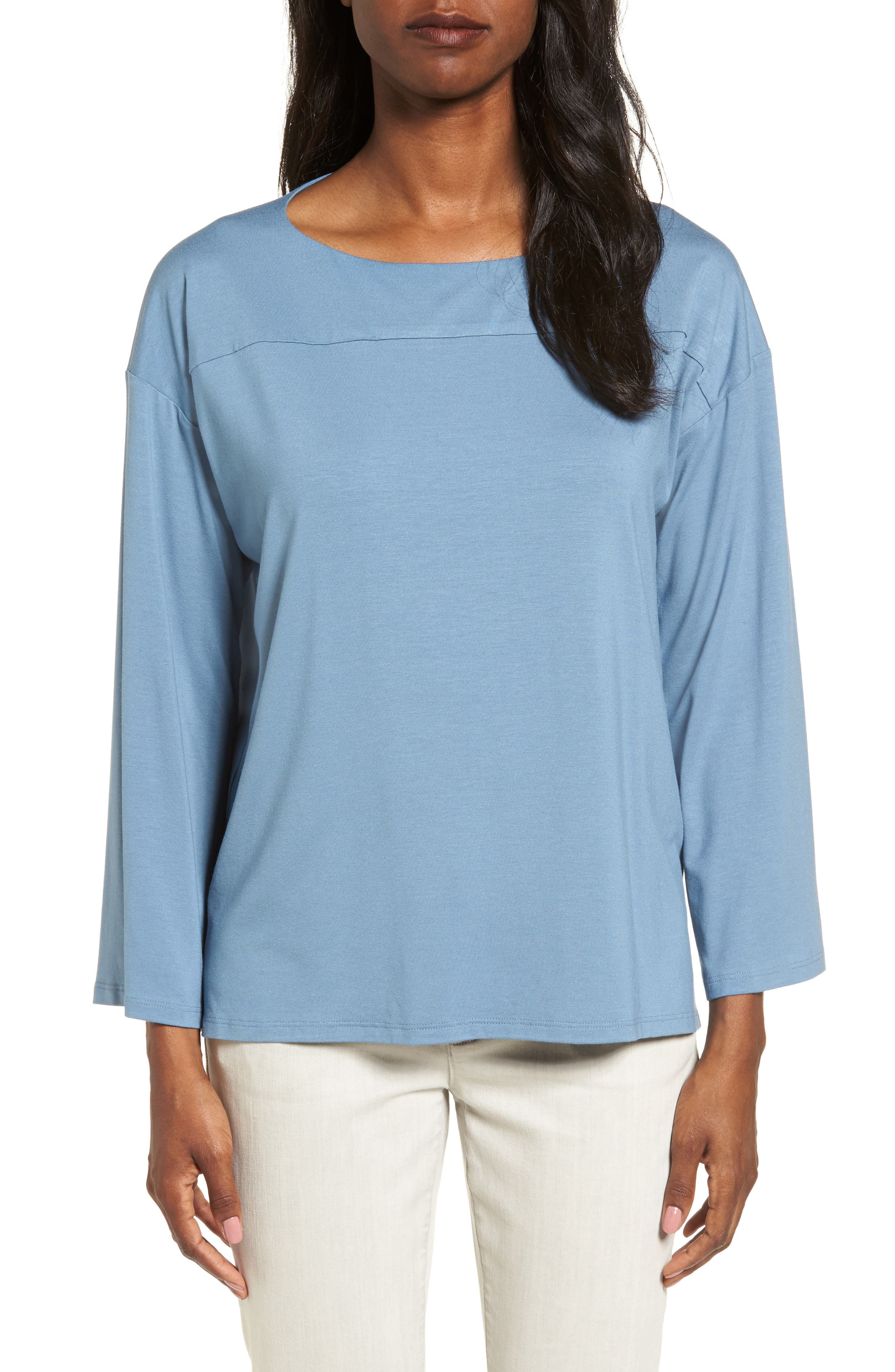 Boxy Jersey Top,                         Main,                         color, Pond