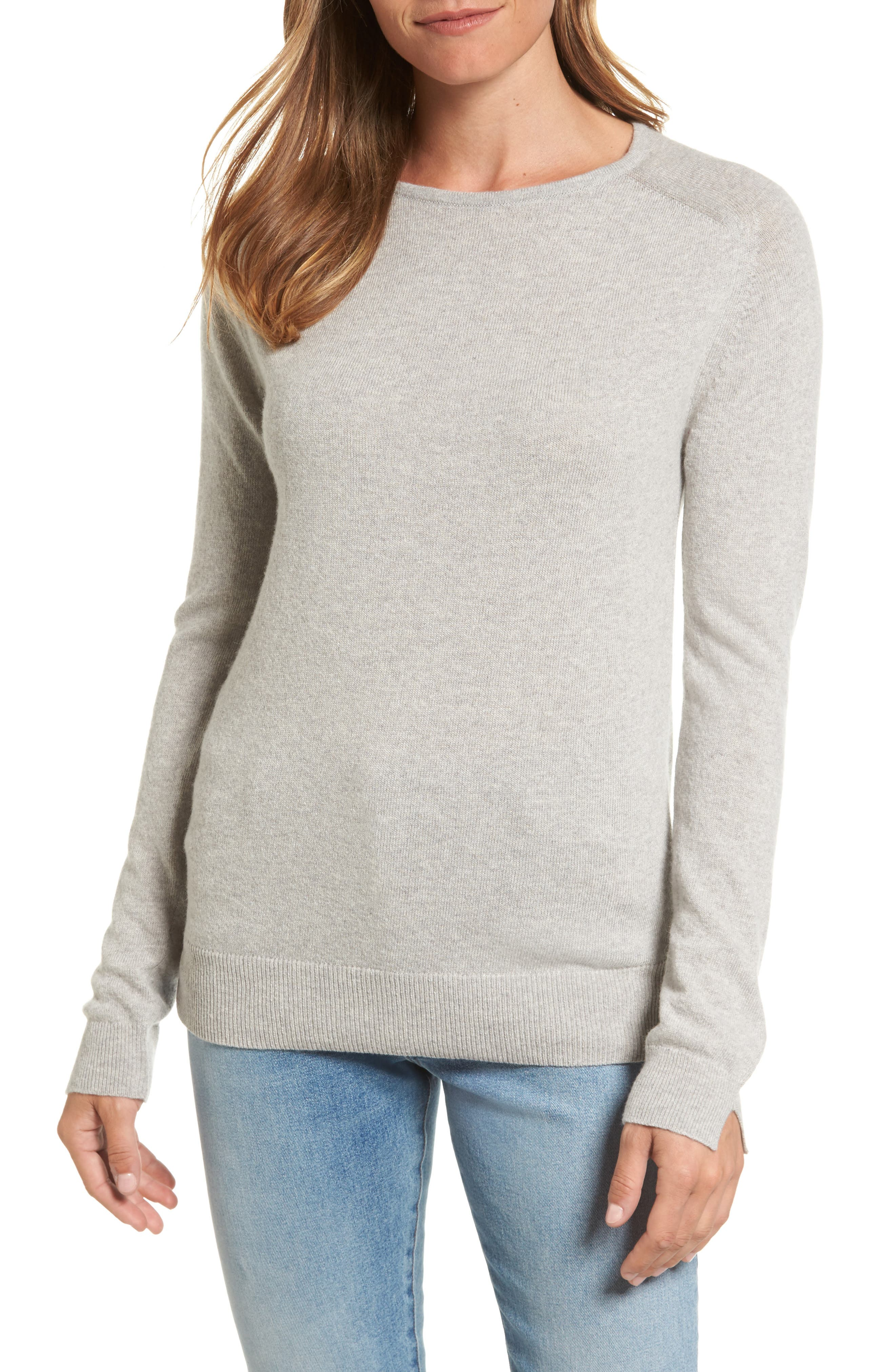 Mill Wool Blend Boatneck Sweater,                         Main,                         color, Light Grey Marl