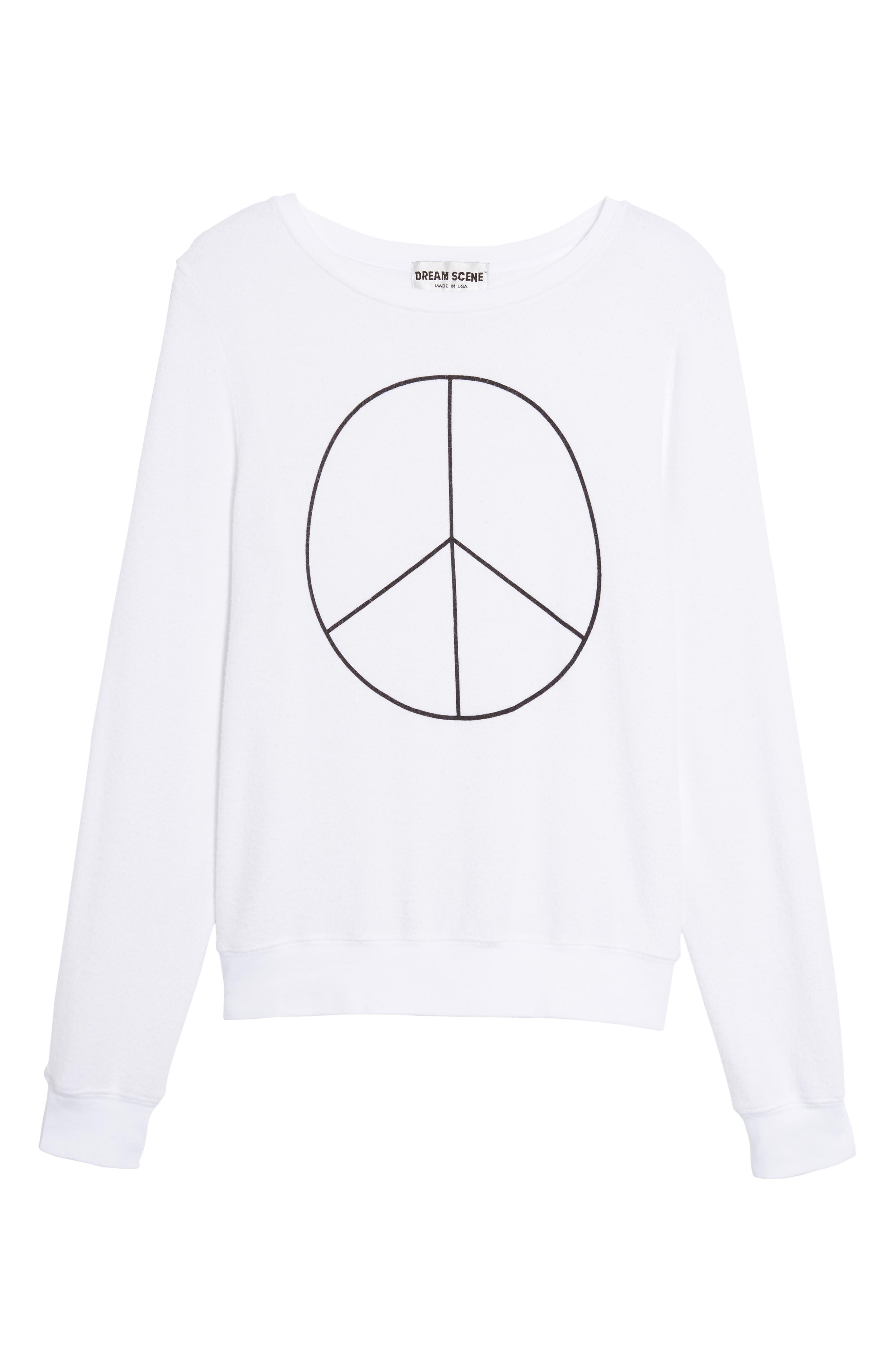 Peace Sweatshirt,                             Alternate thumbnail 6, color,                             White
