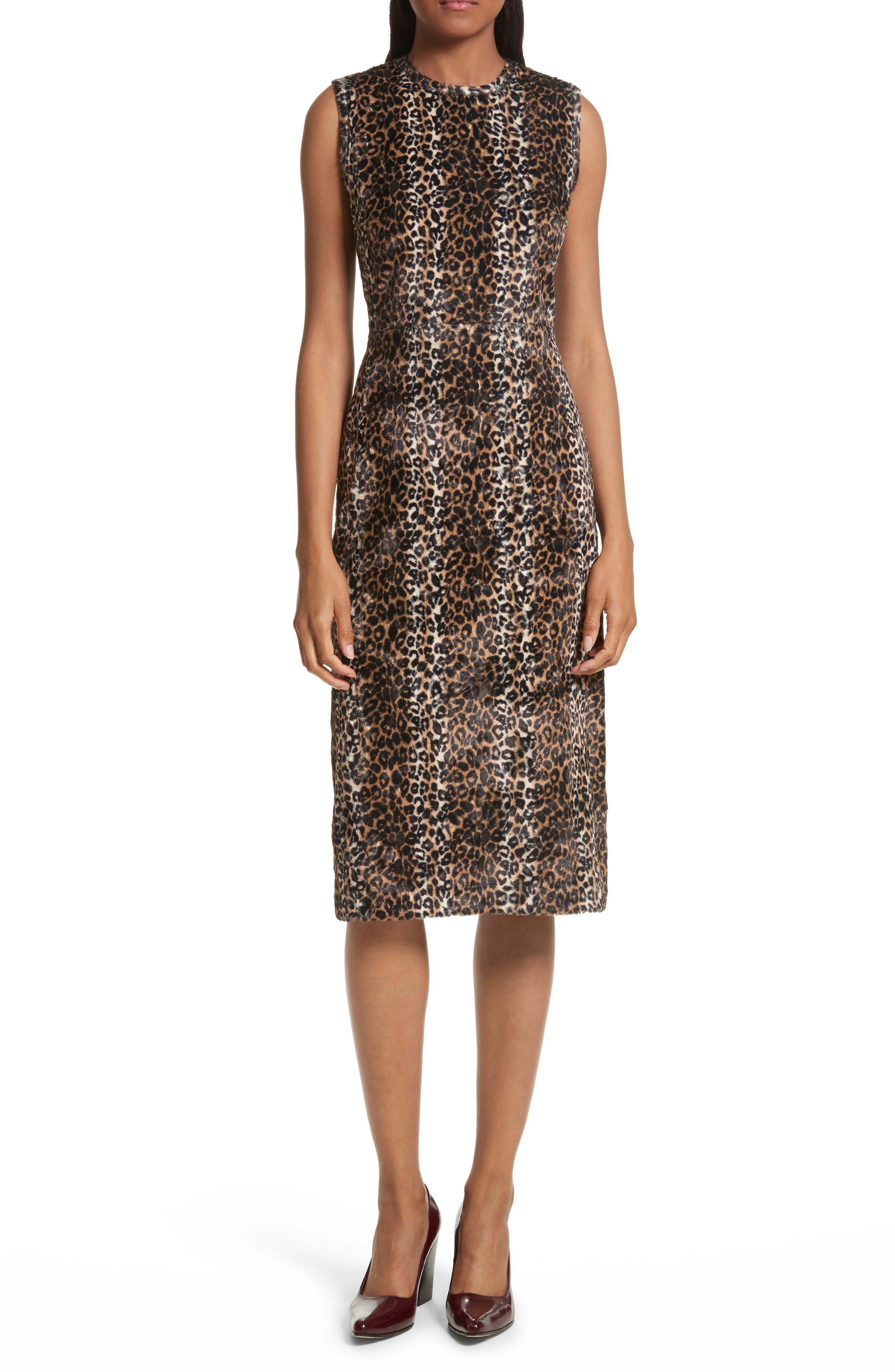 Sling Cheetah Faux Fur Sheath Dress,                         Main,                         color, Multi