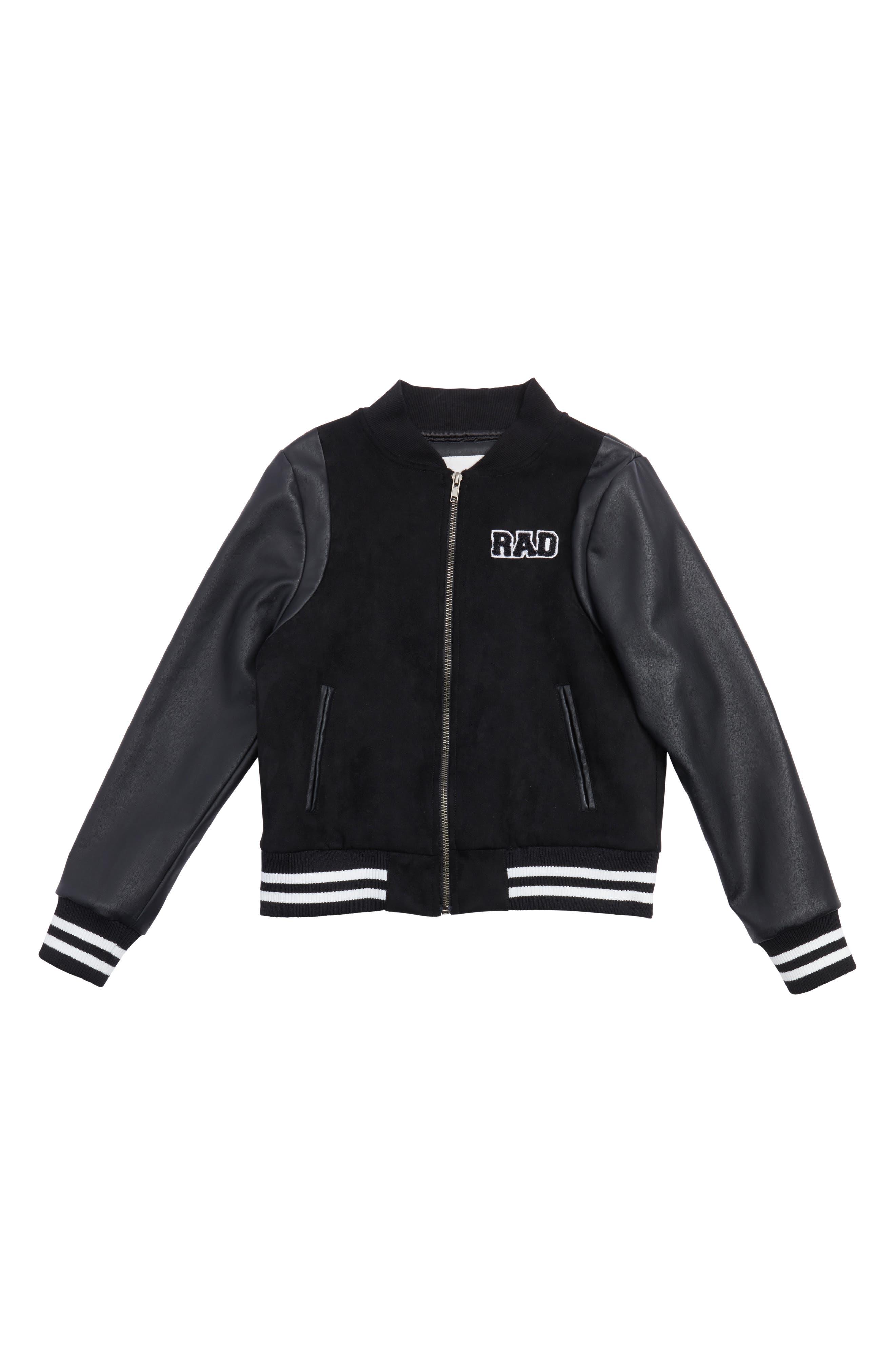 Mixed Media Bomber Jacket,                         Main,                         color, Black