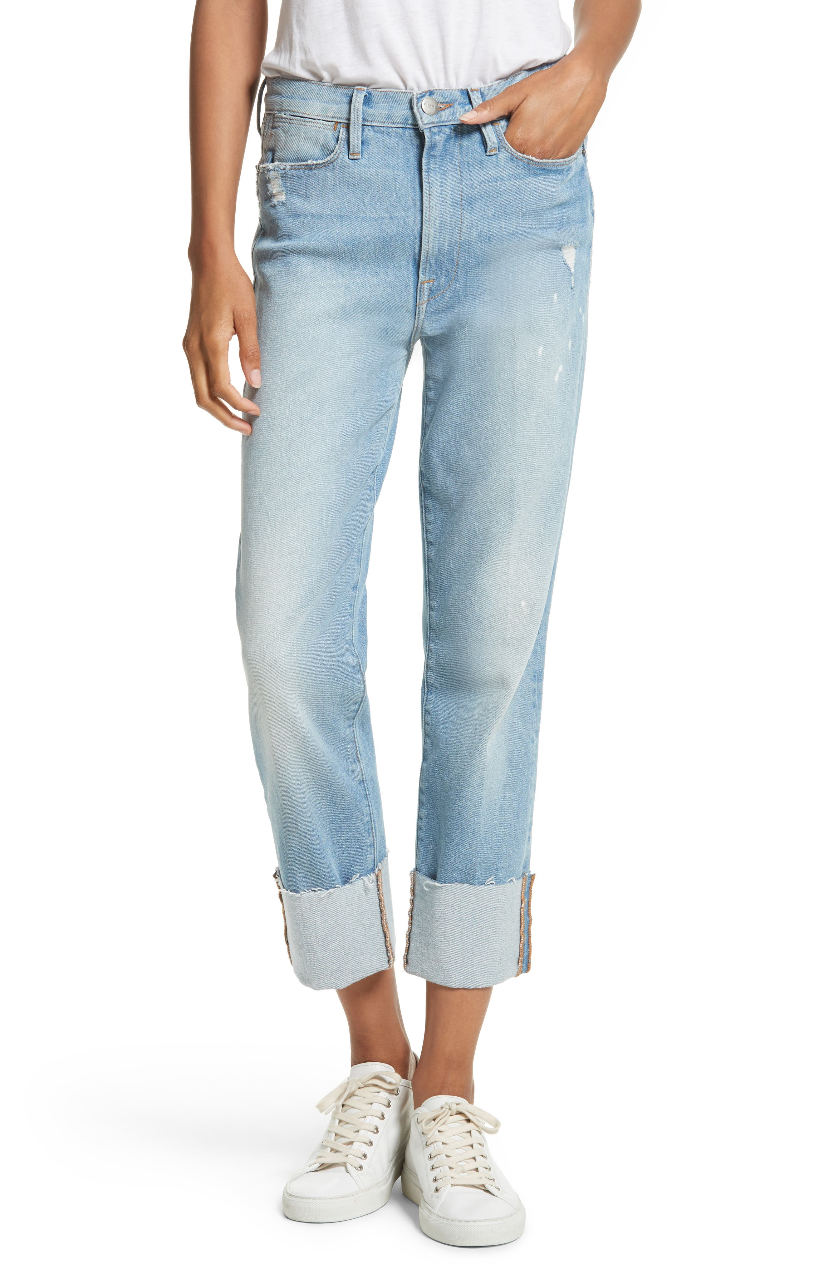 Main Image - FRAME Le High Straight Leg Cuffed Jeans (Berkshire)