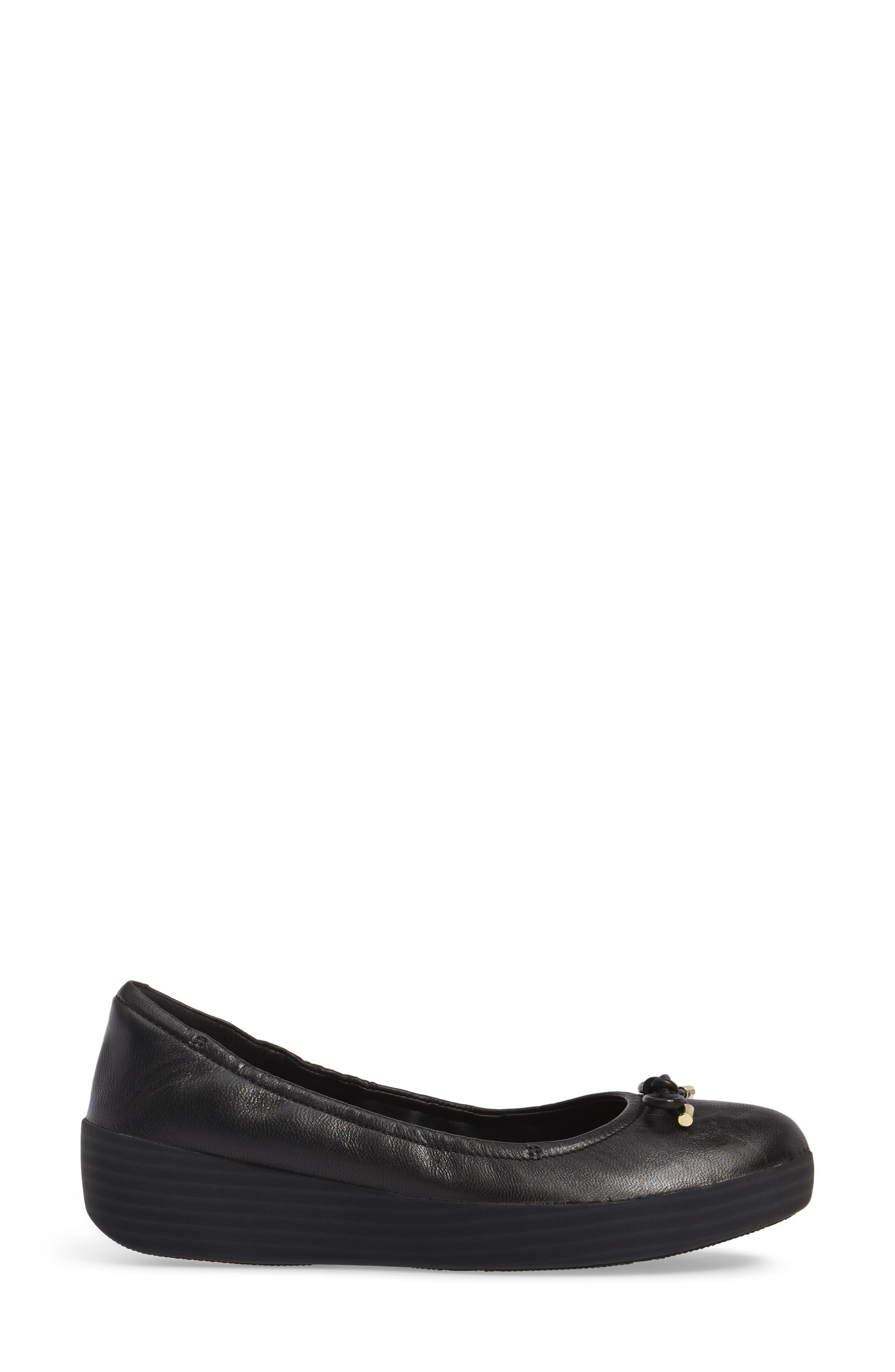Superbendy Ballerina Flat,                             Alternate thumbnail 3, color,                             Black Leather