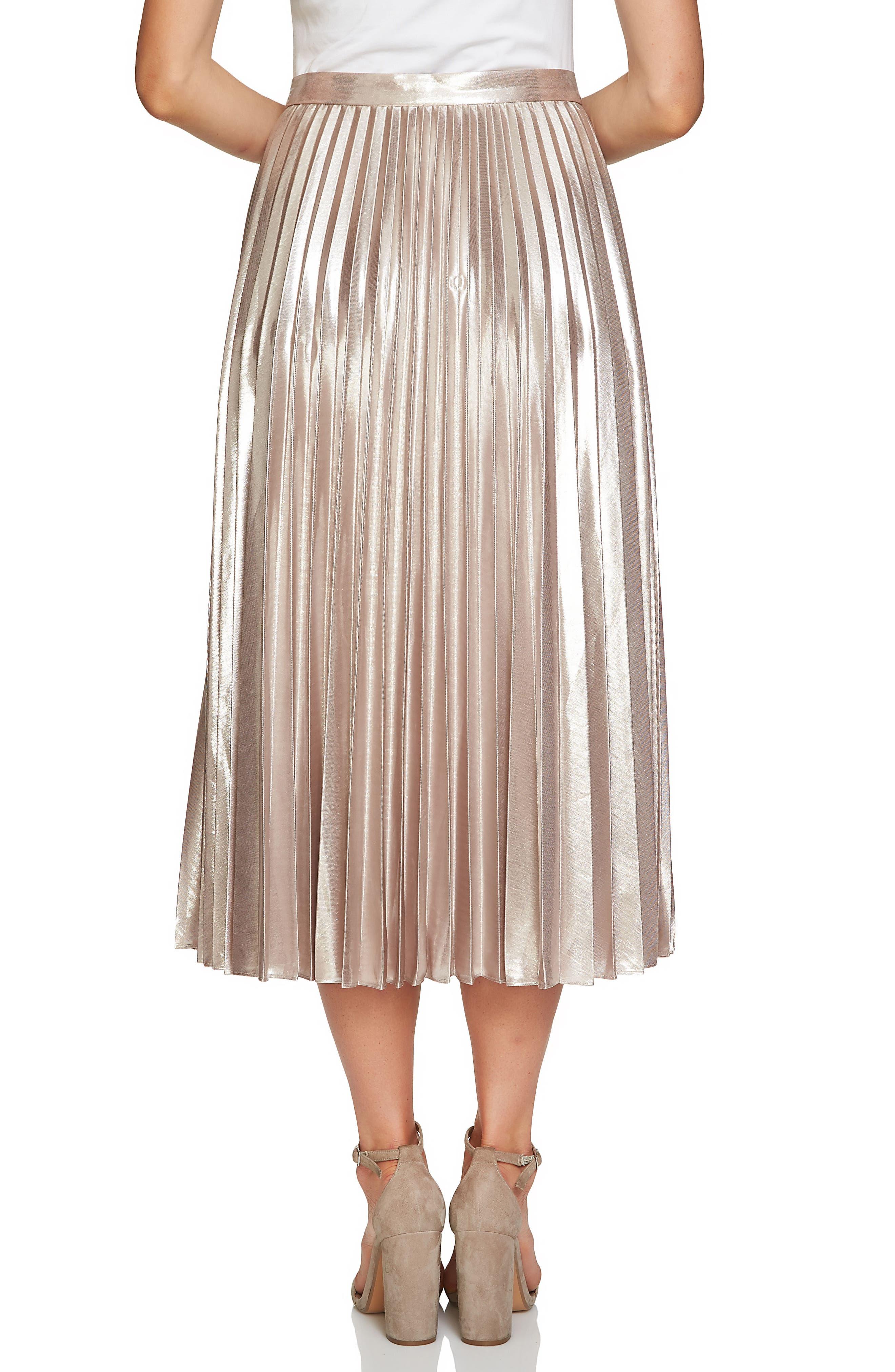 Alternate Image 3  - 1.STATE Metallic Pleated Midi Skirt