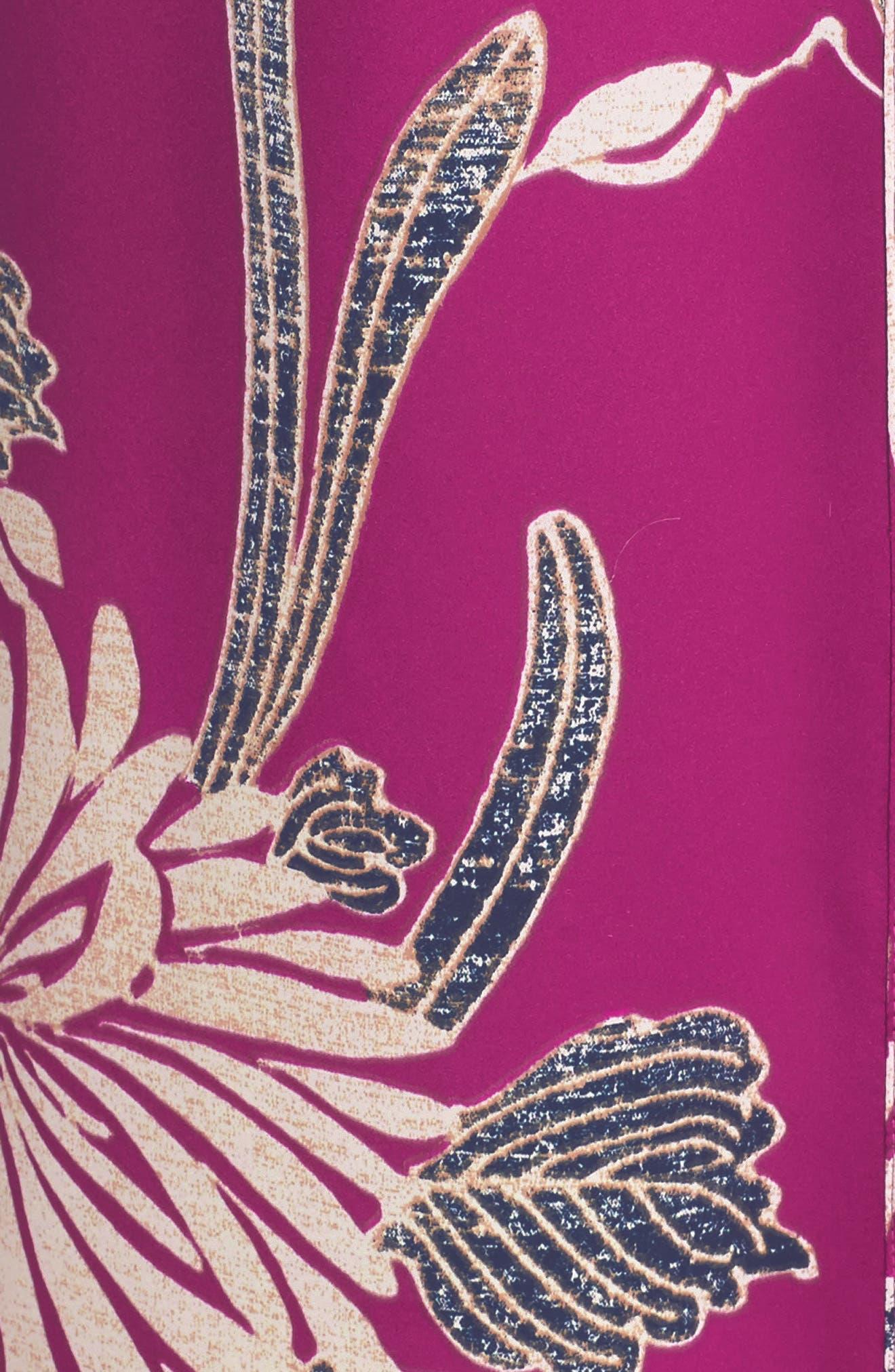 Aizome Satin Robe,                             Alternate thumbnail 5, color,                             Petunia