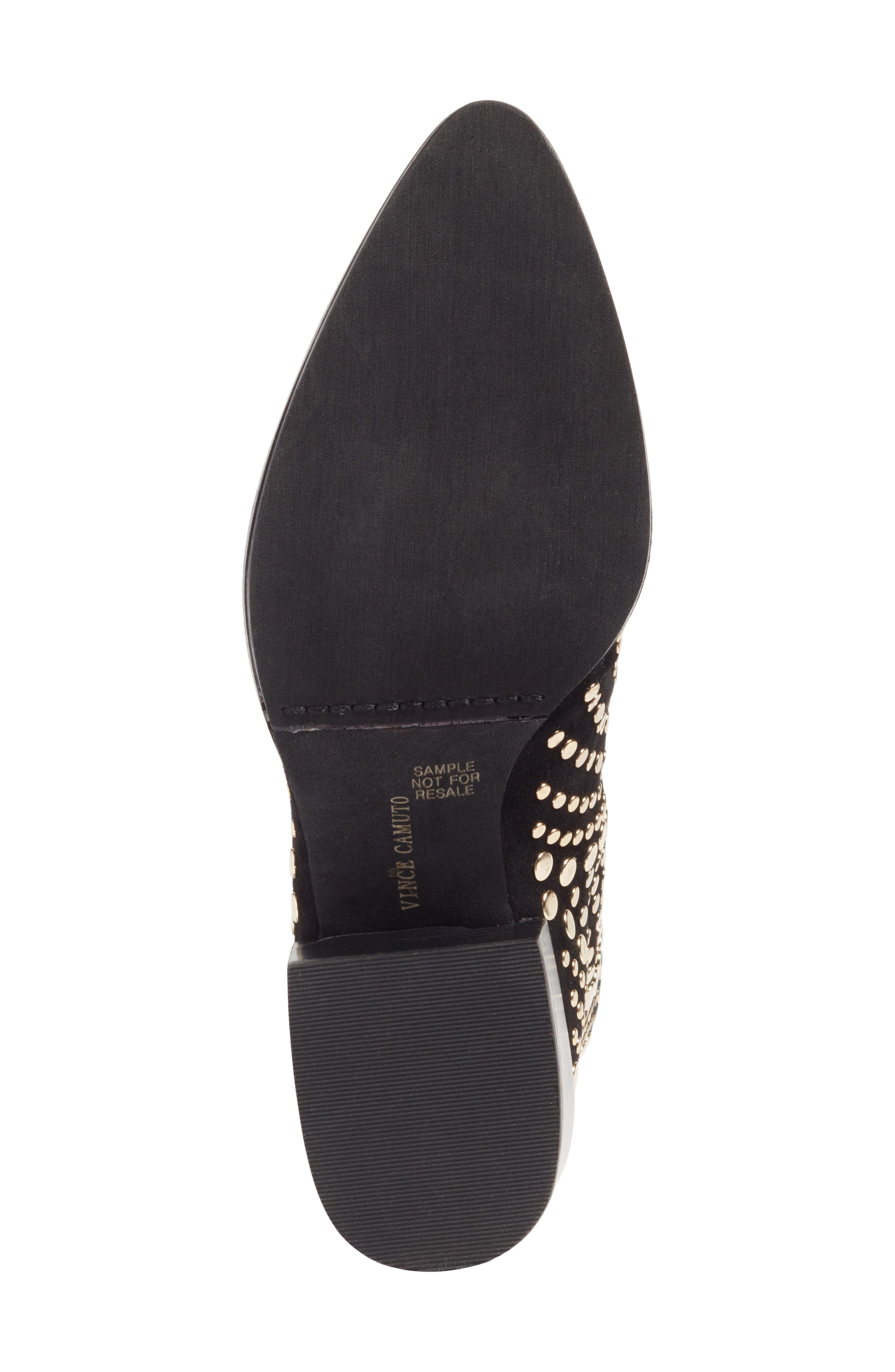 Edenny Studded Pointy Toe Bootie,                             Alternate thumbnail 7, color,                             Black Suede