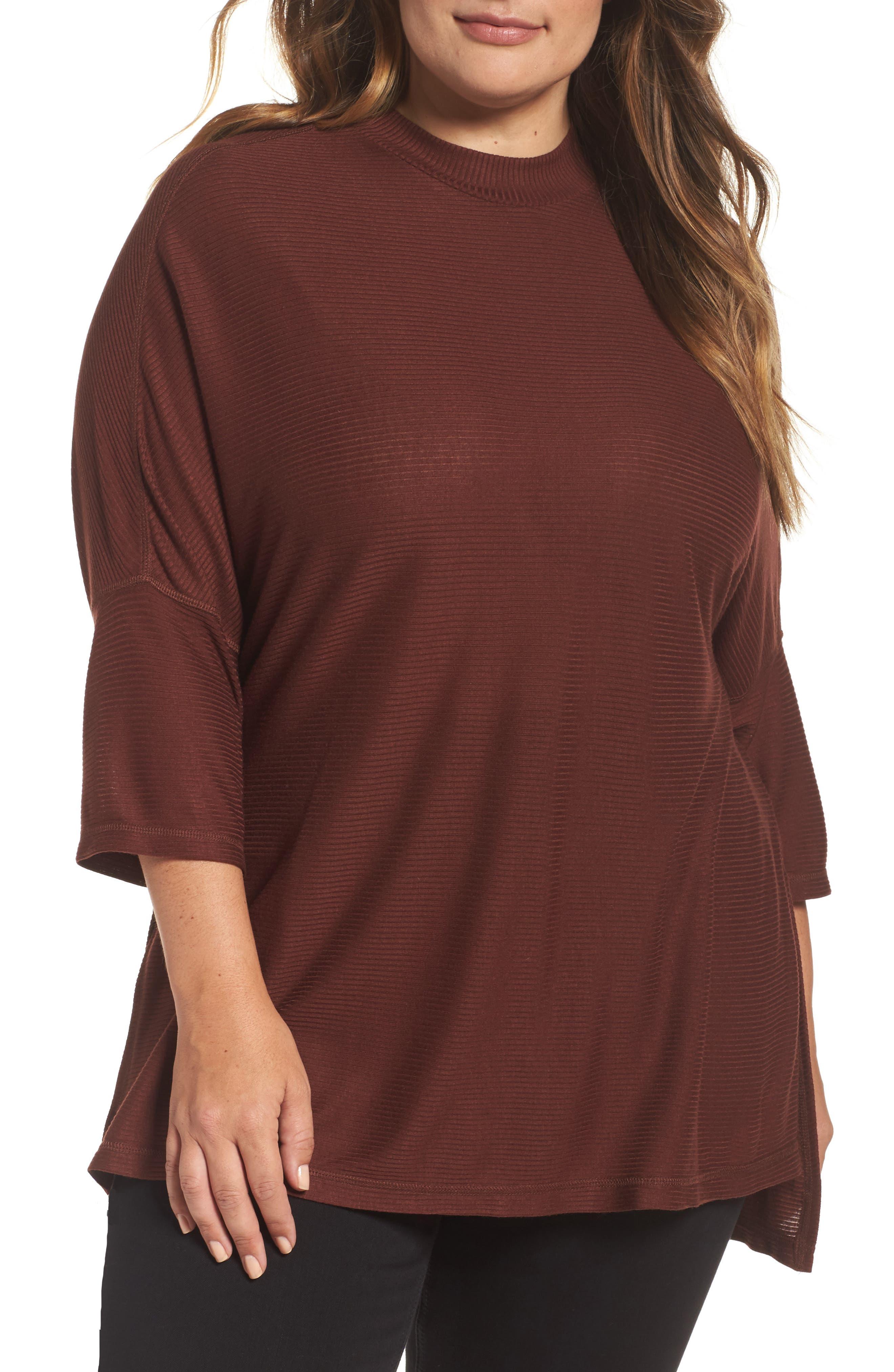 Main Image - Melissa McCarthy Seven7 Mock Neck Rib Knit Top (Plus Size)