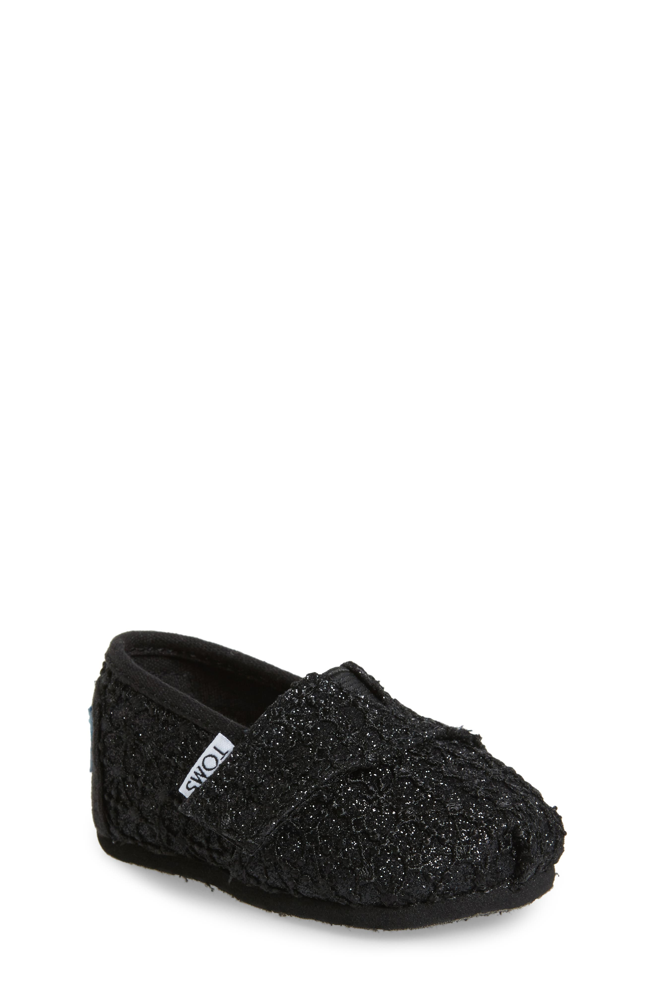 TOMS Classic Alpargata Lace Glimmer Slip-On (Baby, Walker & Toddler)