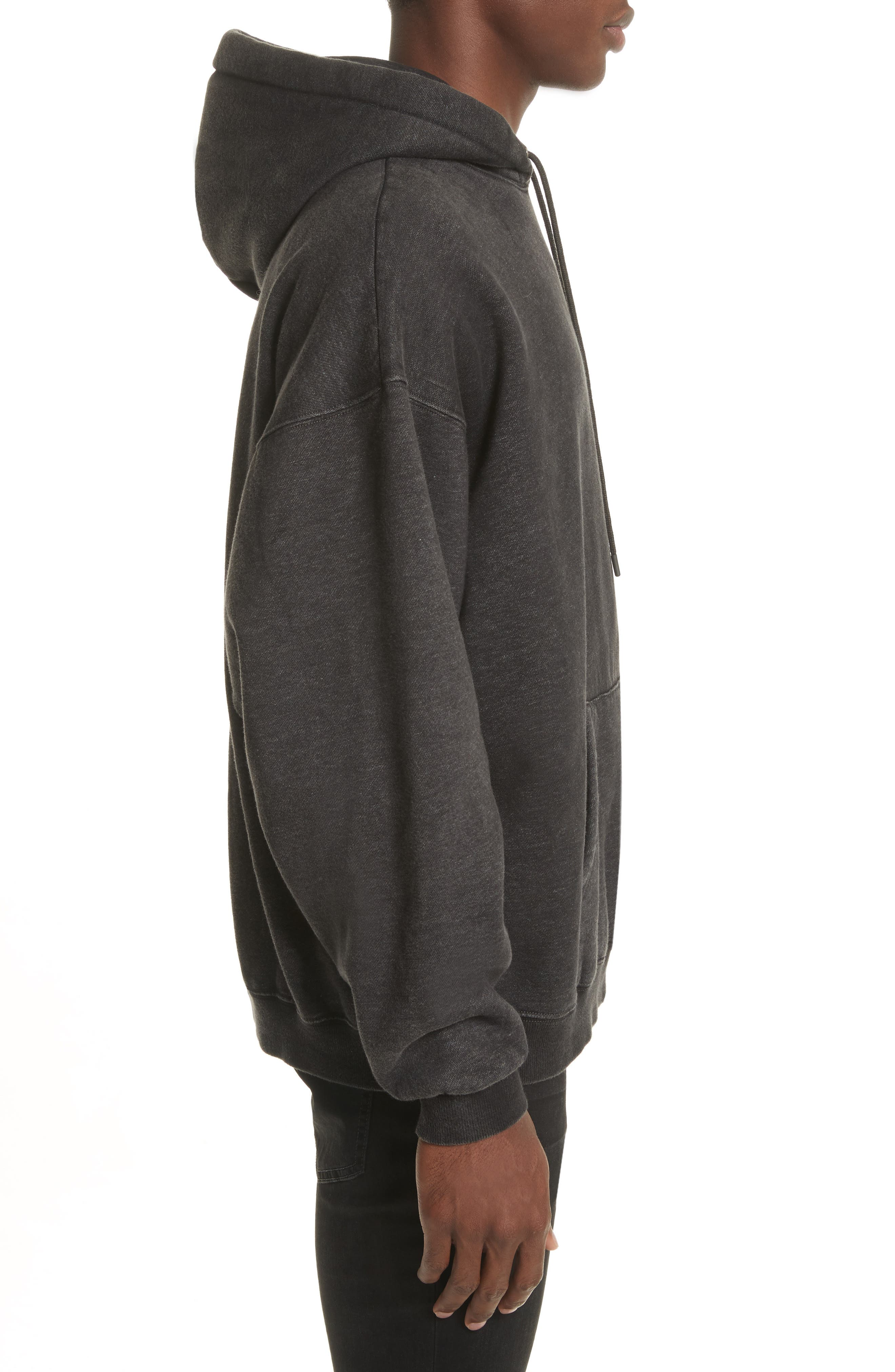 Oversize Pullover Hoodie,                             Alternate thumbnail 3, color,                             Acid Black
