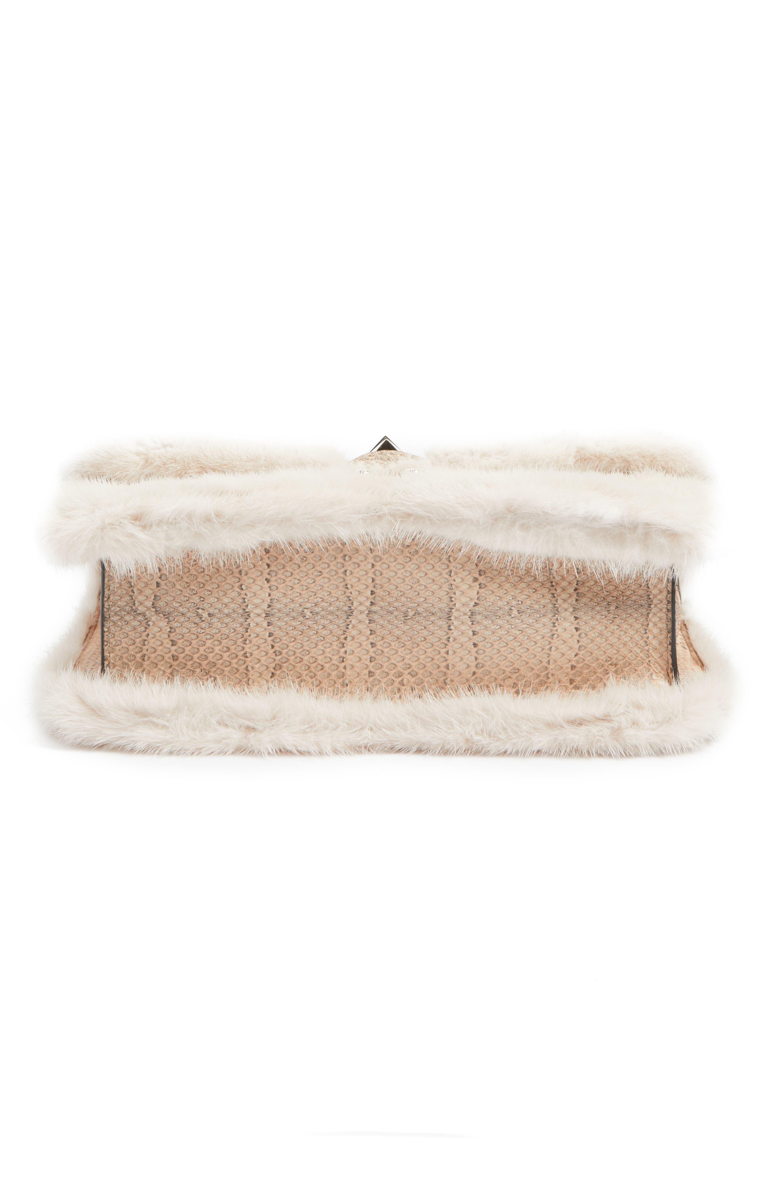 Alternate Image 5  - VALENTINO GARAVANI Small Lock Genuine Mink Fur & Snakeskin Shoulder Bag