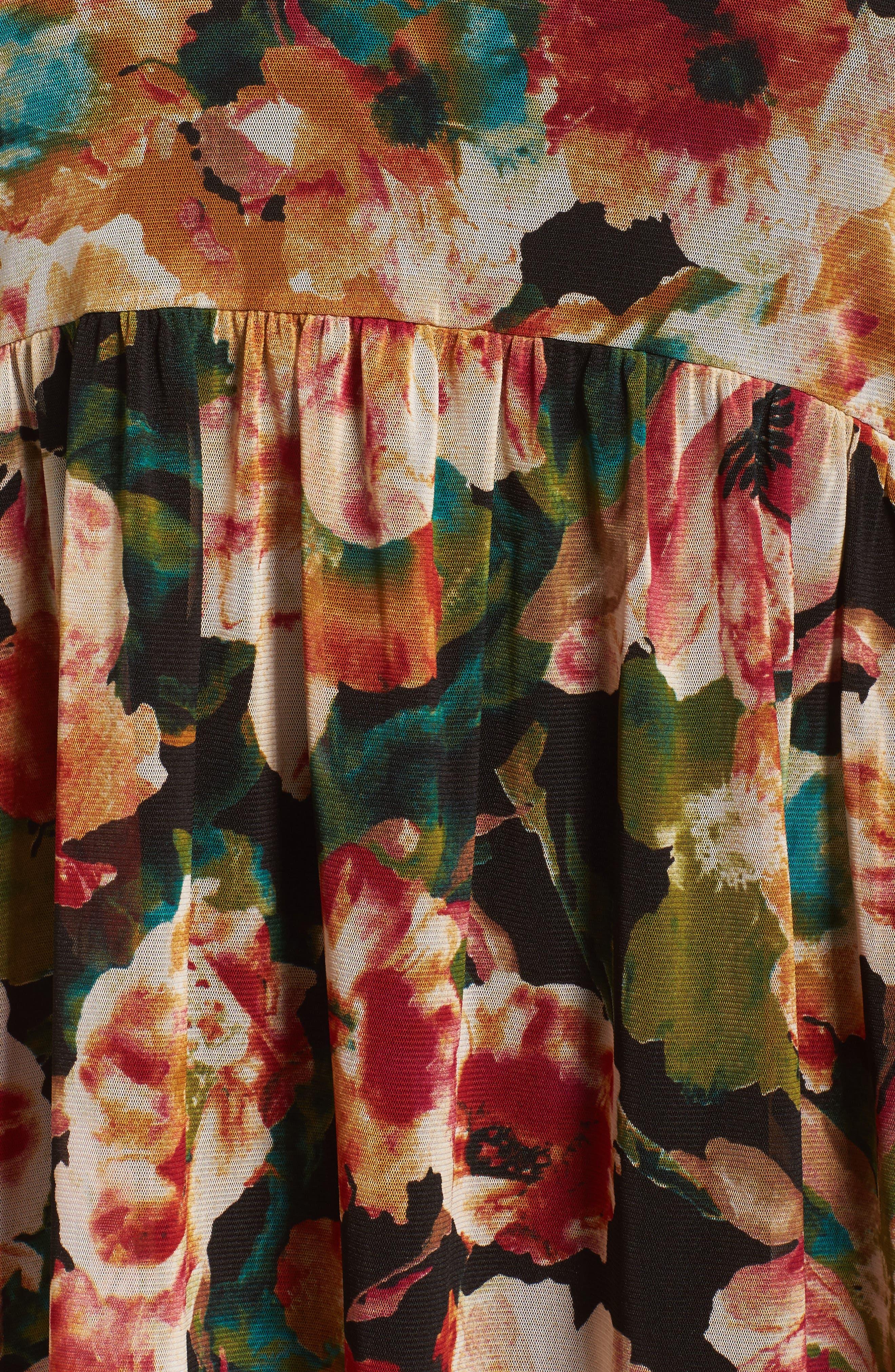 Alternate Image 5  - Sejour Floral Print Mesh Peplum Tunic (Plus Size)
