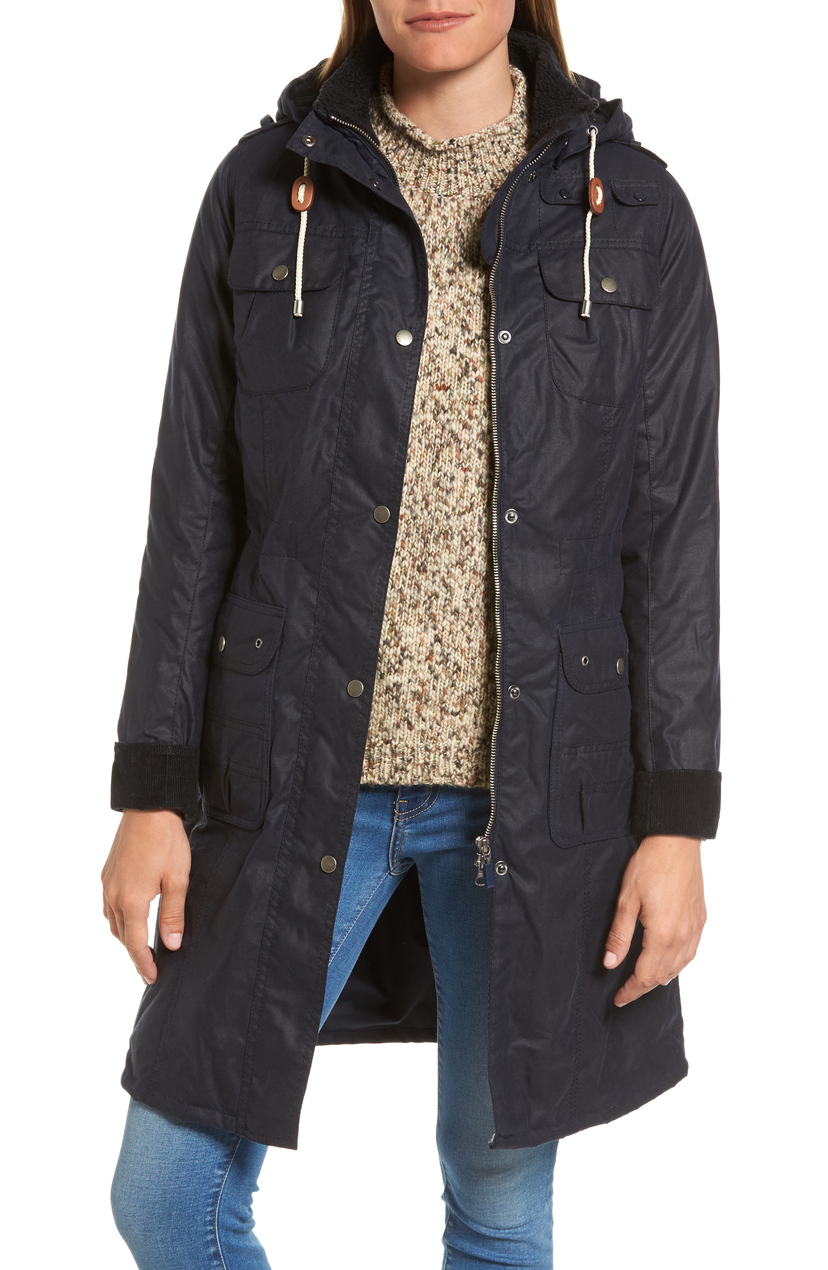 Winterton Hooded Water Repellent Waxed Canvas Jacket,                         Main,                         color, Royal Navy