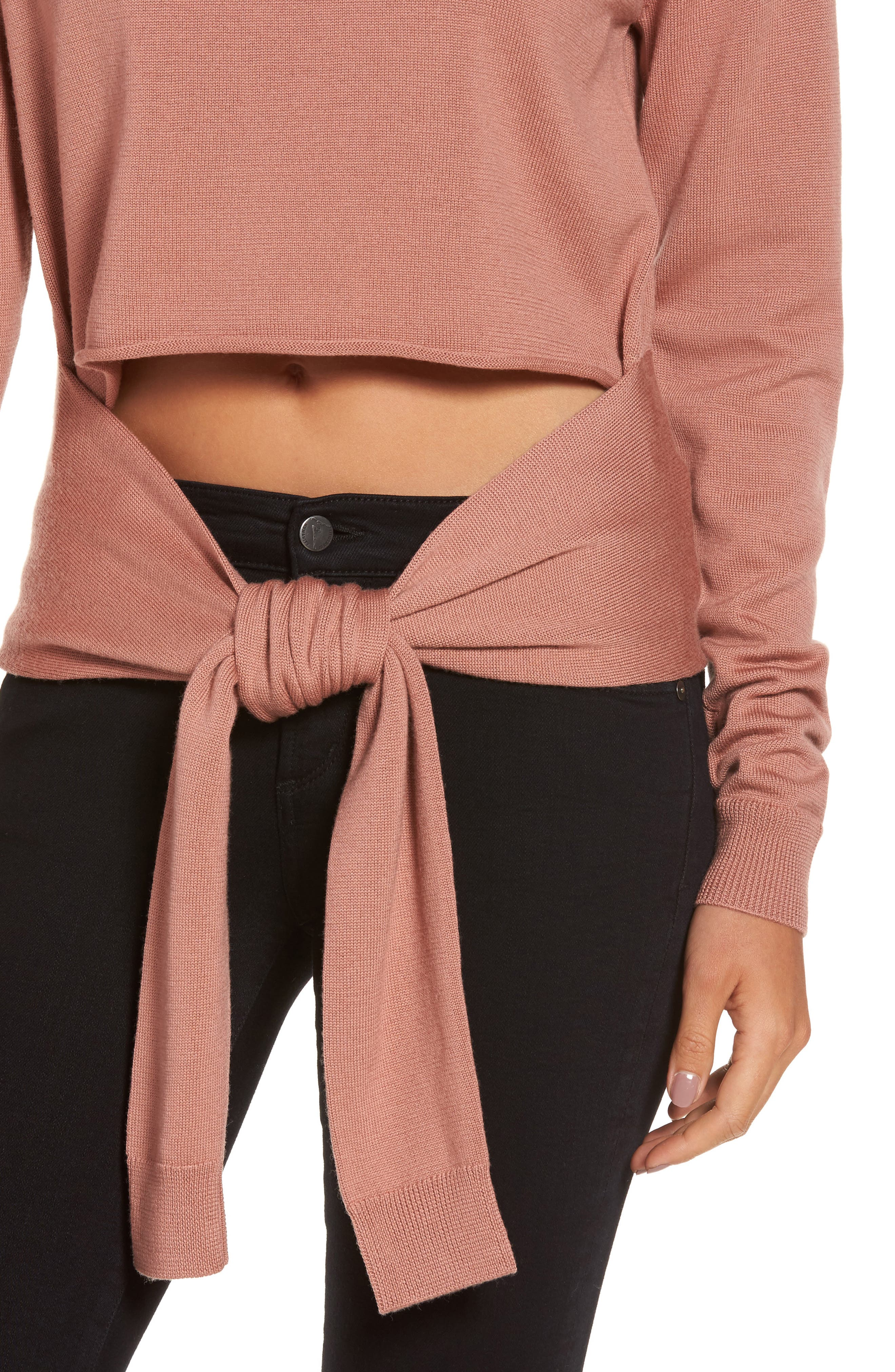 Tie Front Turtleneck Sweater,                             Alternate thumbnail 4, color,                             Rose