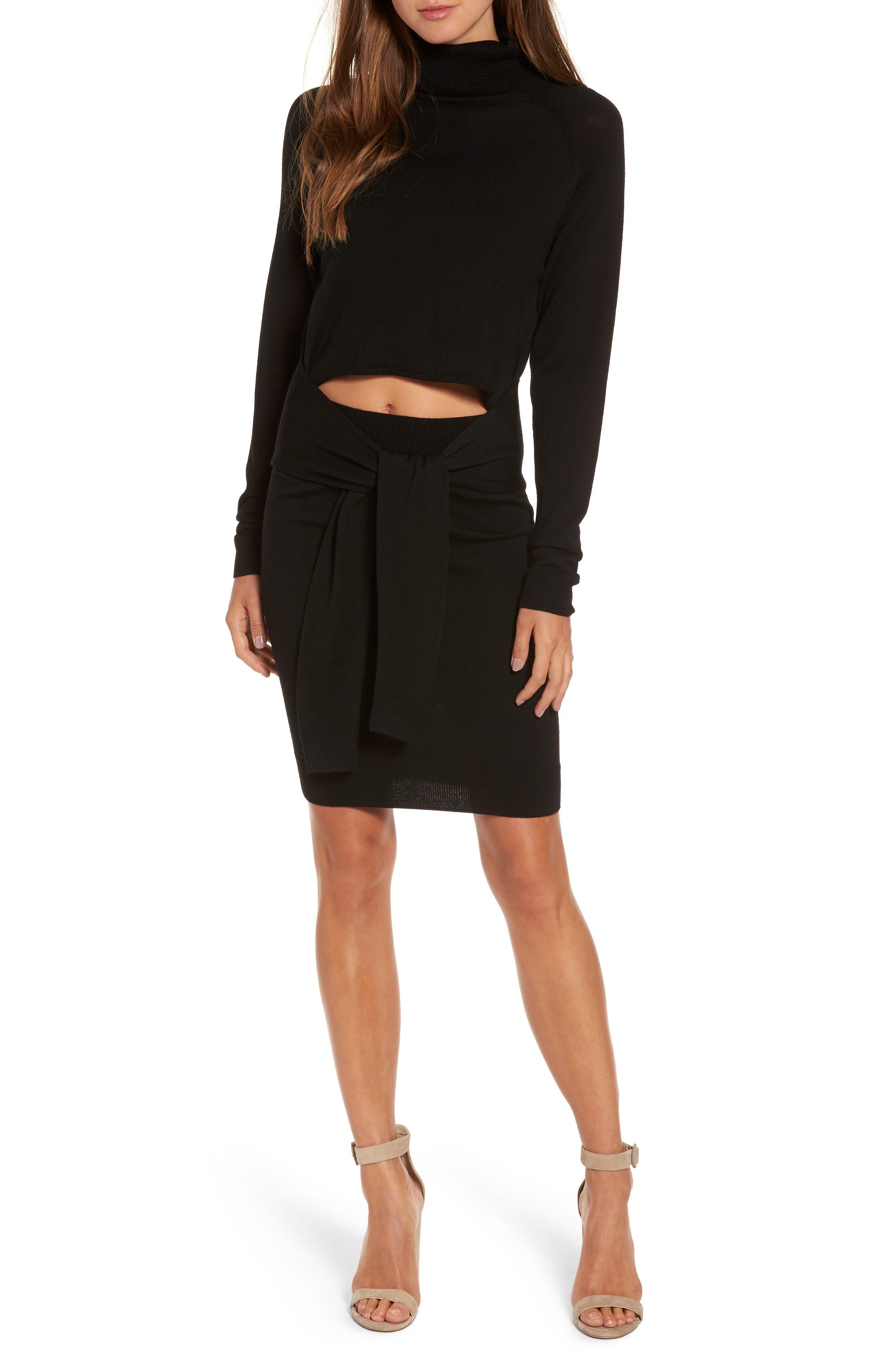 Main Image - KENDALL + KYLIE Tie Front Turtleneck Dress