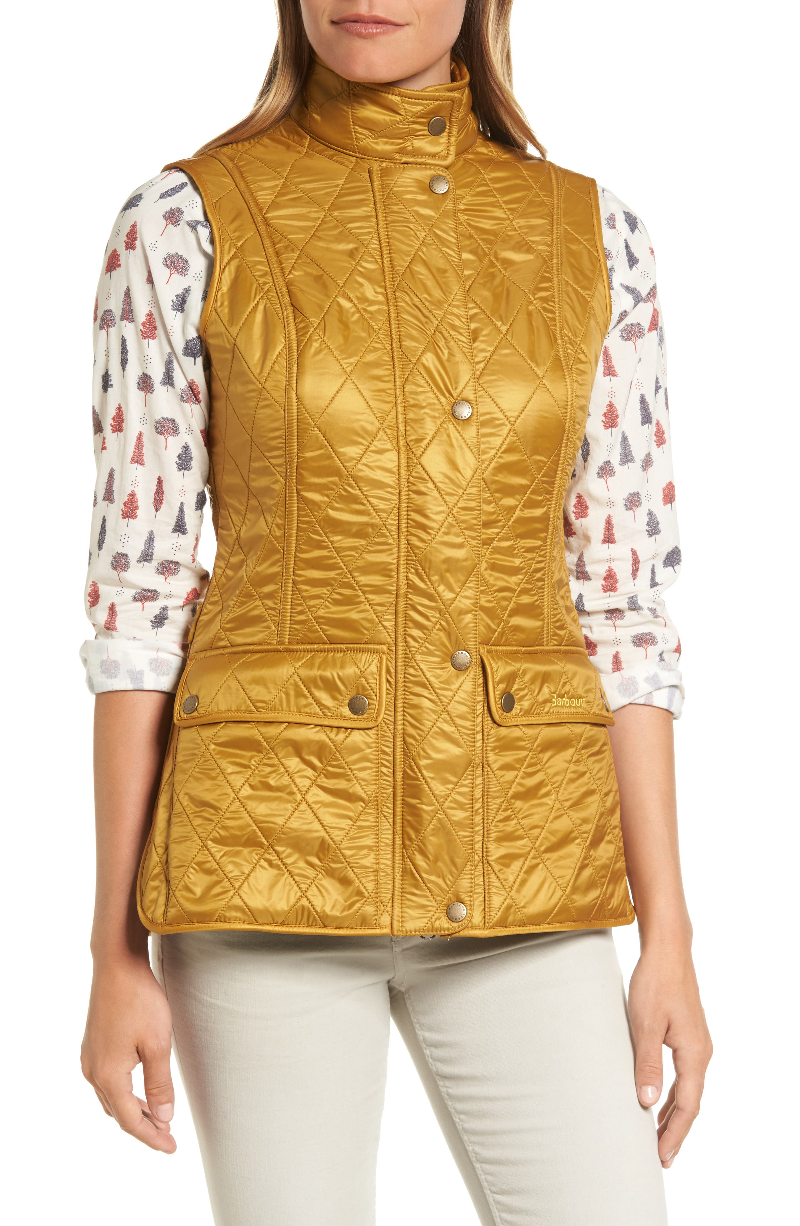 Wray Water Resistant Quilted Gilet,                             Alternate thumbnail 5, color,                             Harvest Gold