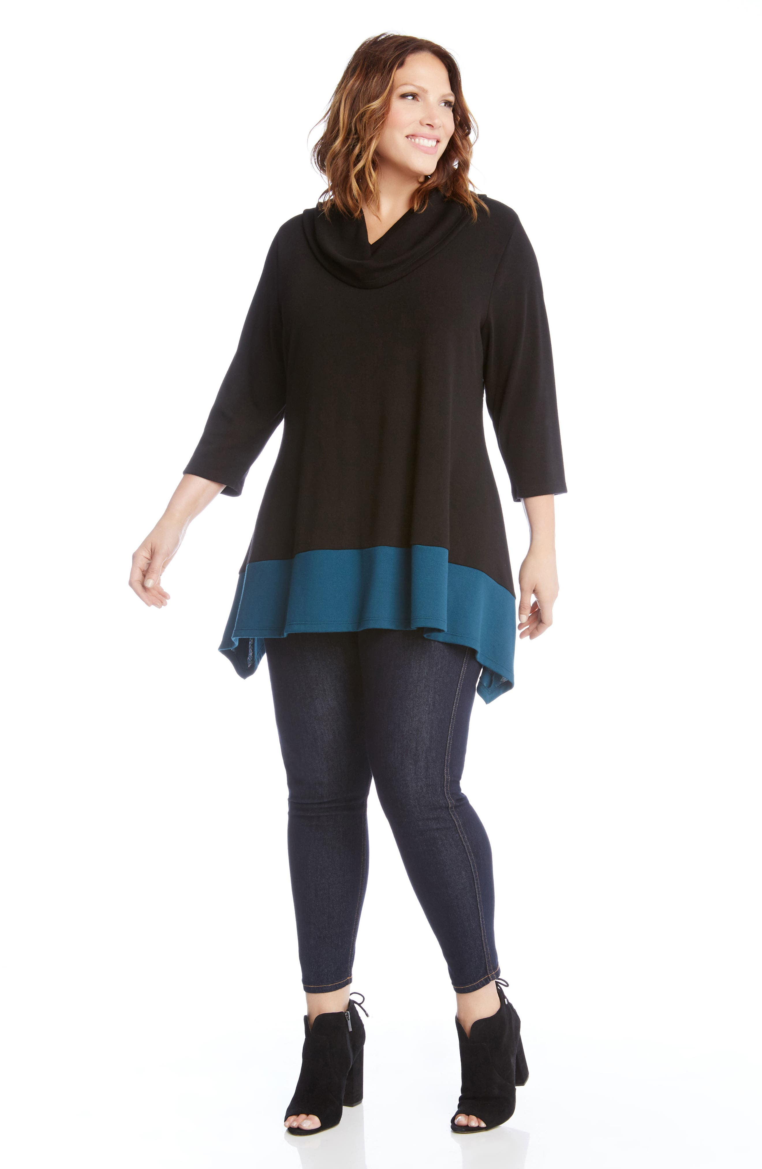 Colorblock Hem Sweater,                             Alternate thumbnail 3, color,                             Black With Teal