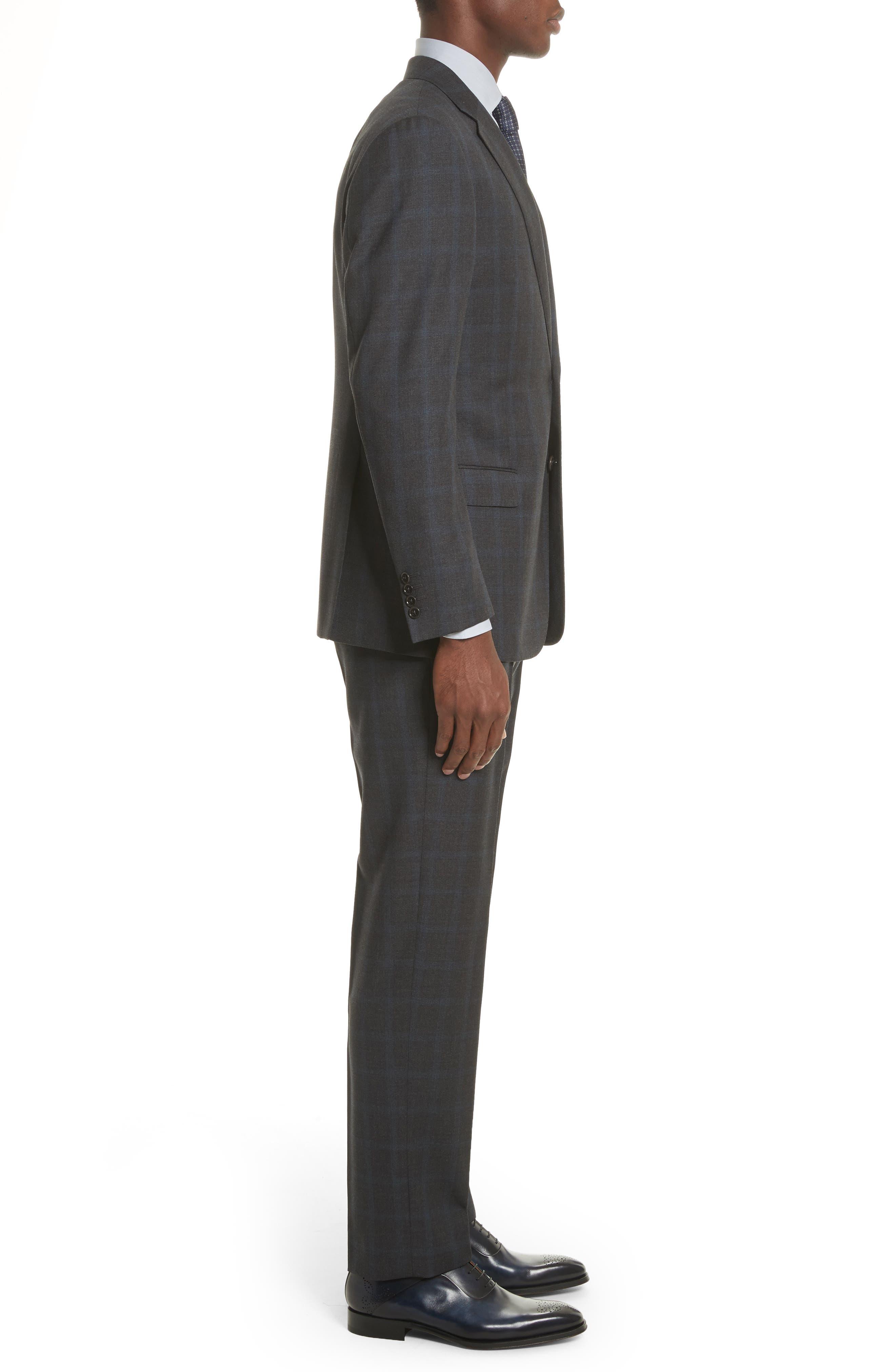 G-Line Trim Fit Plaid Wool Suit,                             Alternate thumbnail 3, color,                             Black