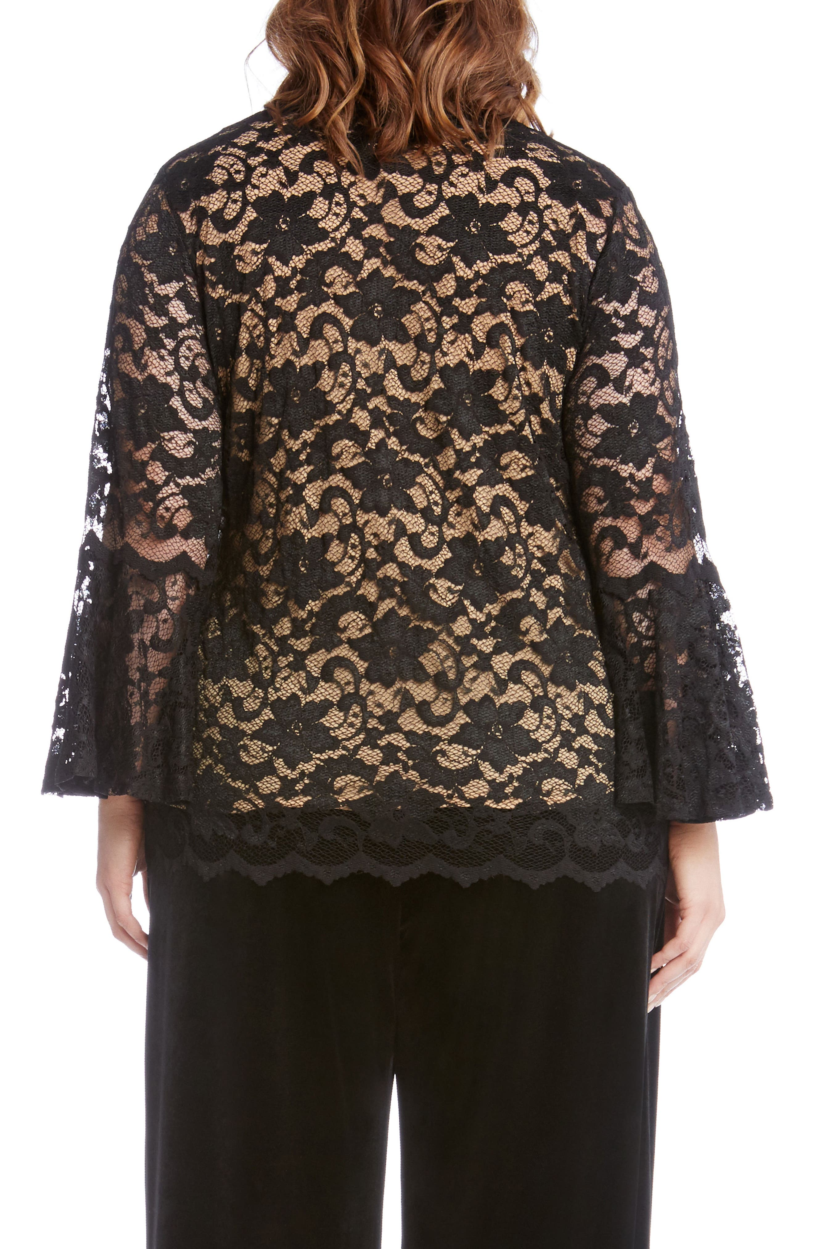 Bell Sleeve Lace Top,                             Alternate thumbnail 2, color,                             Black With Nude