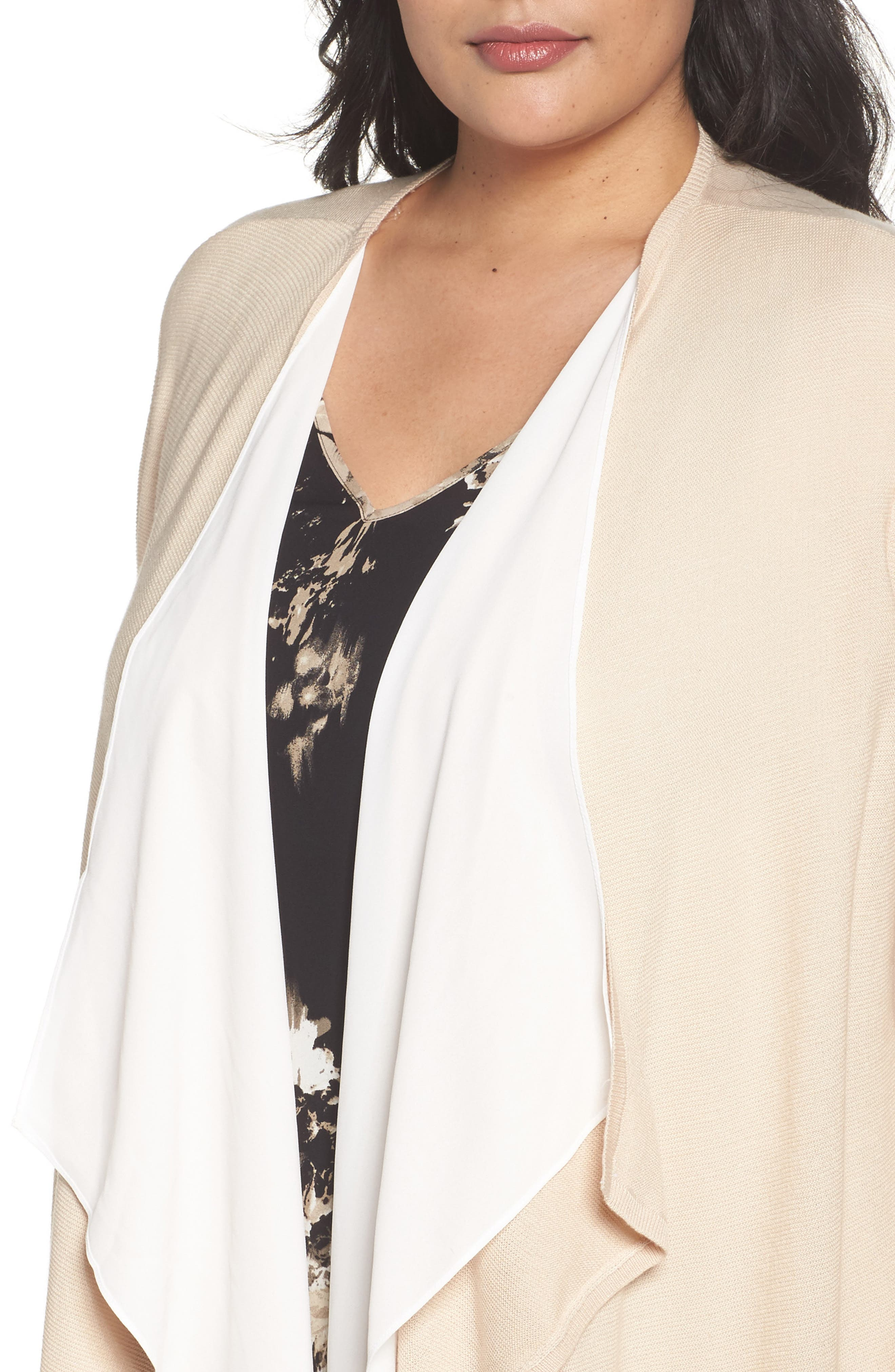 Double Layer Cardigan,                             Alternate thumbnail 4, color,                             Beige Beach- Ivory