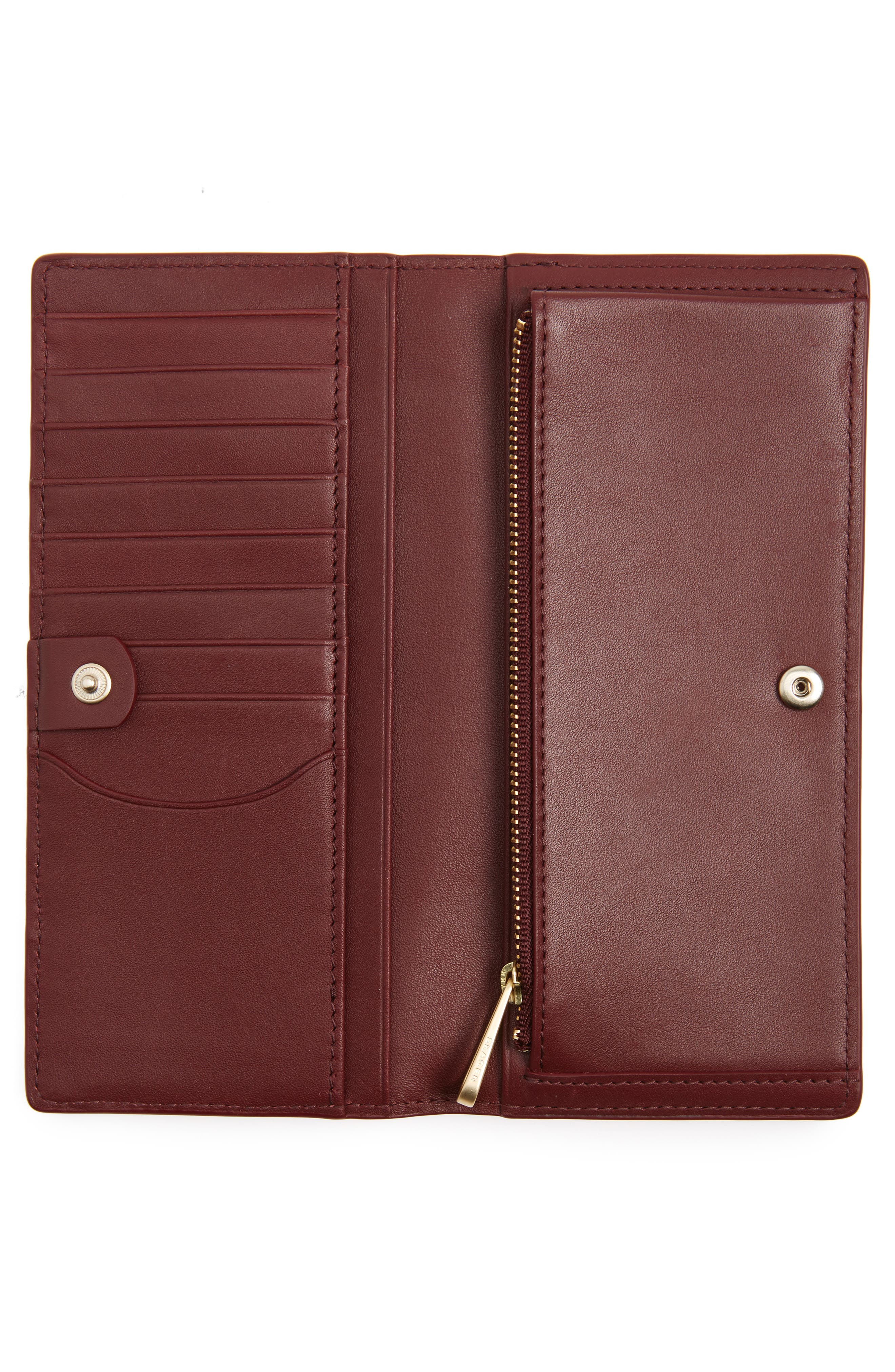 Slim Vertical Leather Wallet,                             Alternate thumbnail 2, color,                             Cordovan
