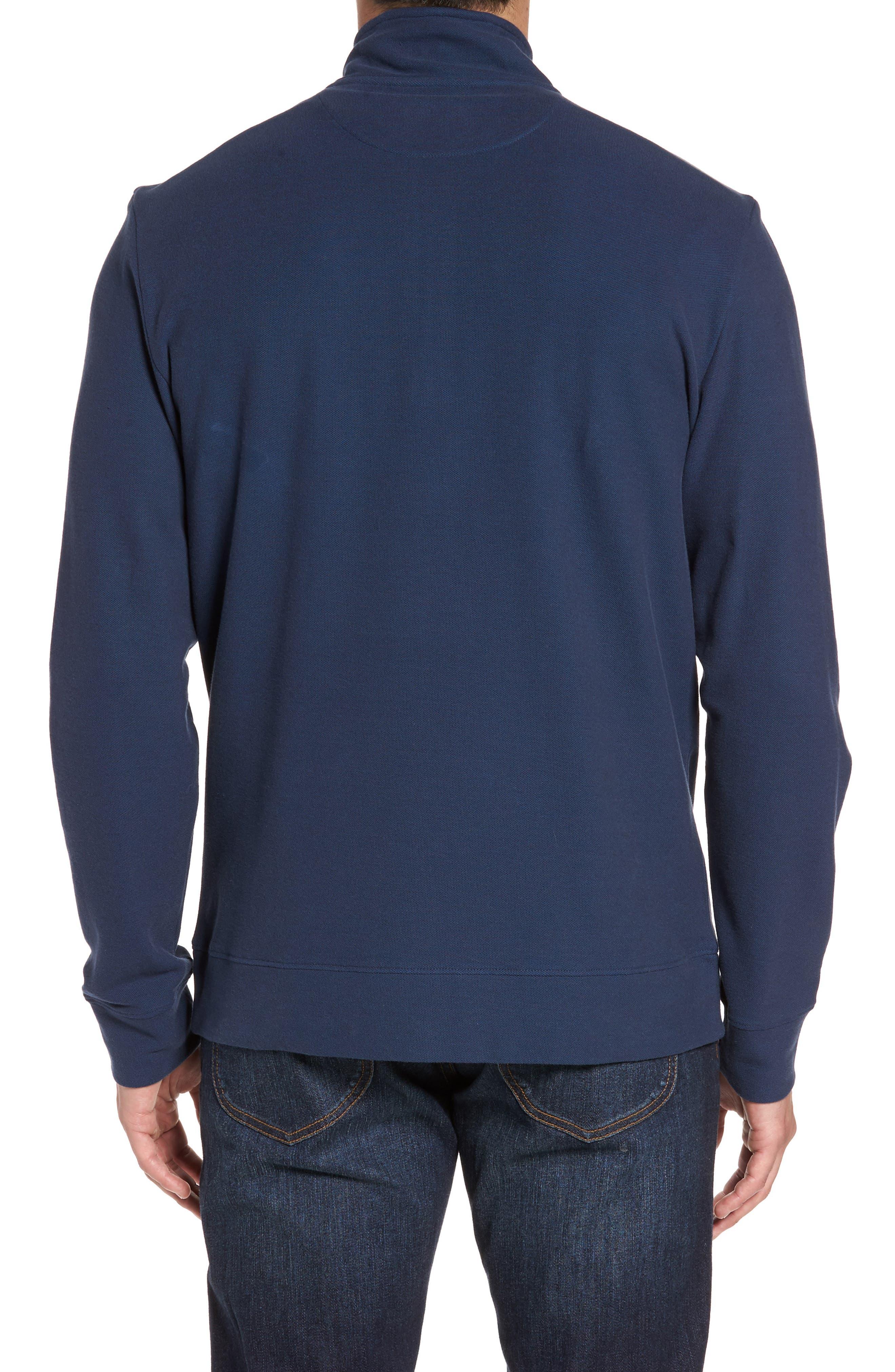 Reverse Oxford Quarter Zip Pullover,                             Alternate thumbnail 2, color,                             Vineyard Navy