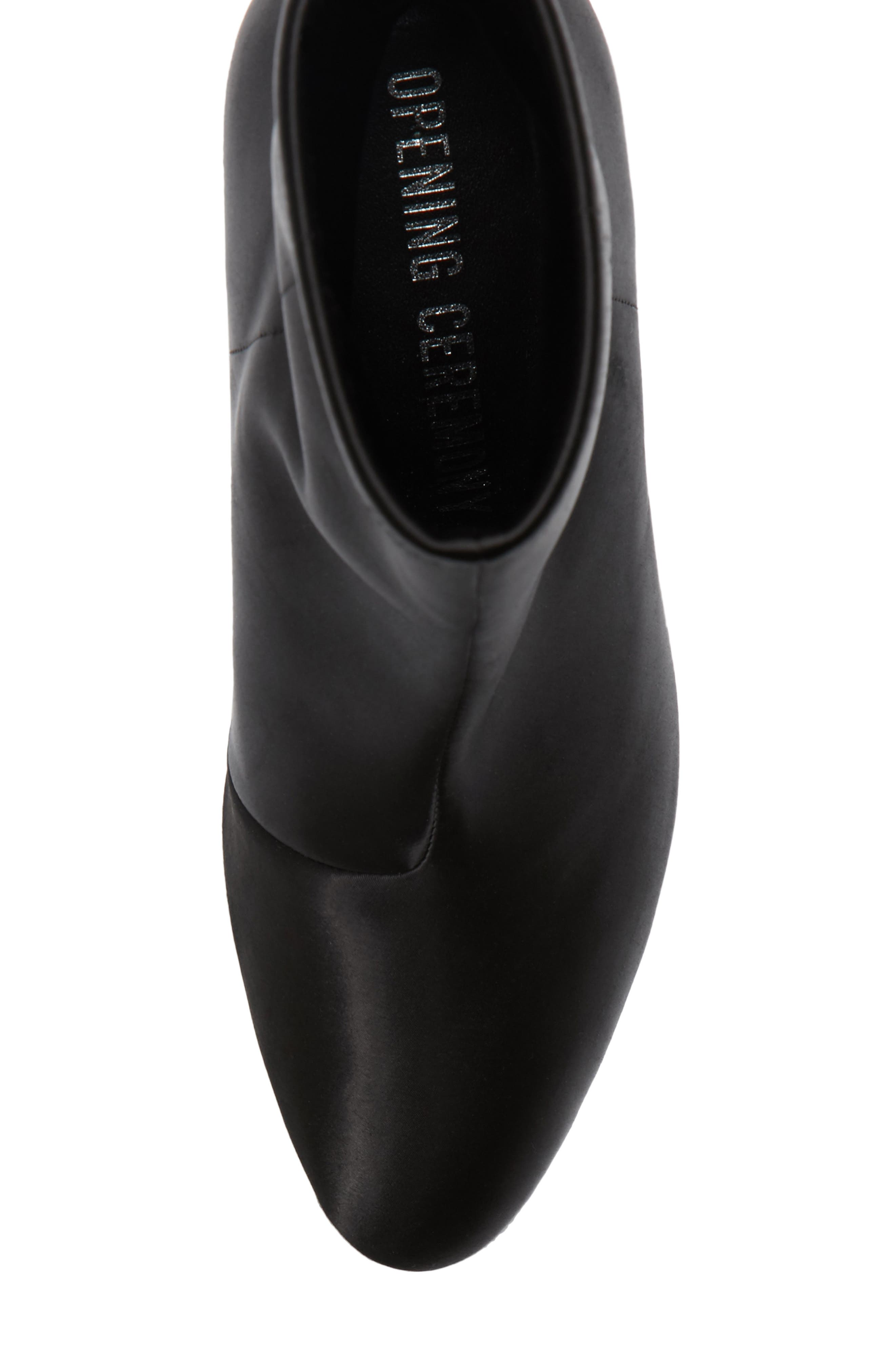 Dylan Stretch Satin Bootie,                             Alternate thumbnail 6, color,                             Black