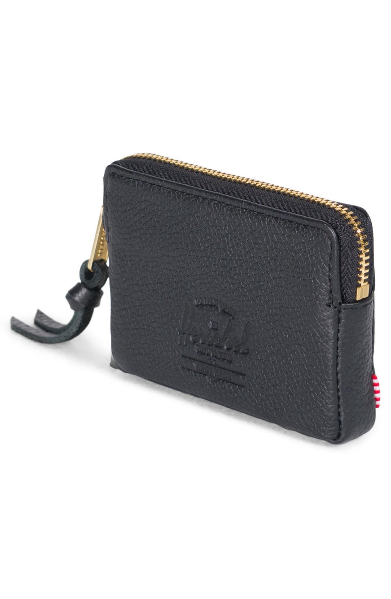 Leather Zip Pouch,                             Alternate thumbnail 2, color,                             Black Pebbled Leather