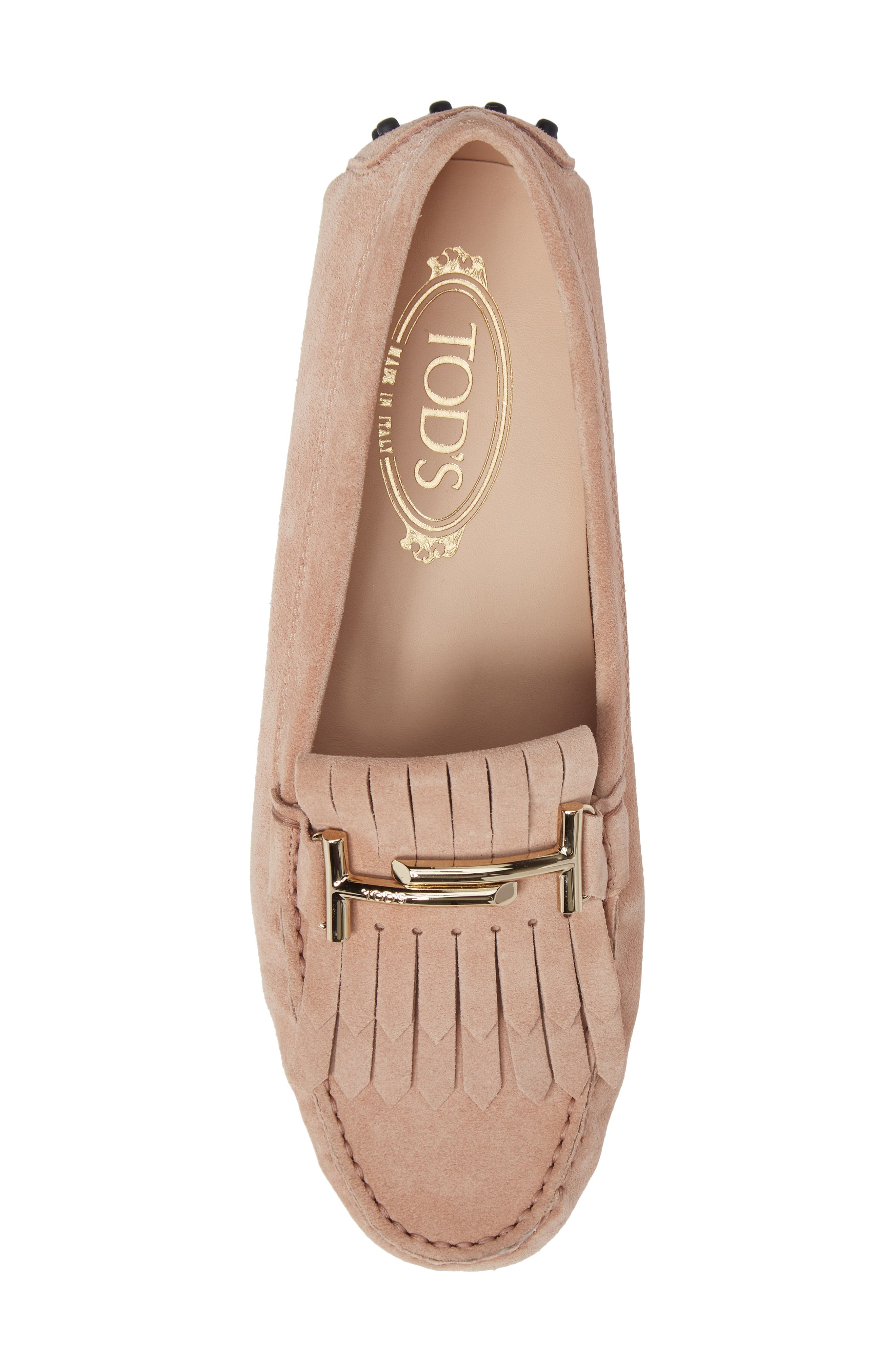Double T Fringe Gommino Loafer,                             Alternate thumbnail 5, color,                             Cheek Beige
