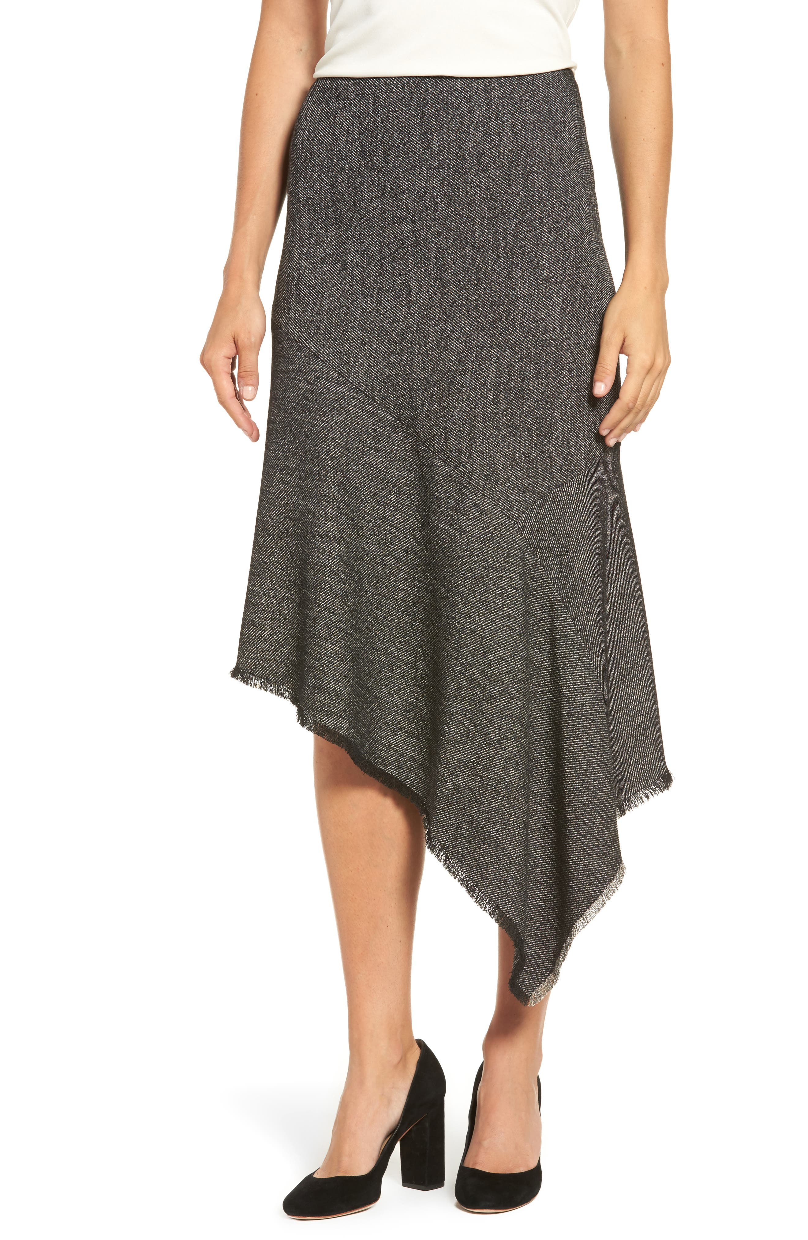 Asymmetrical Tweed Skirt,                         Main,                         color, Black/ White