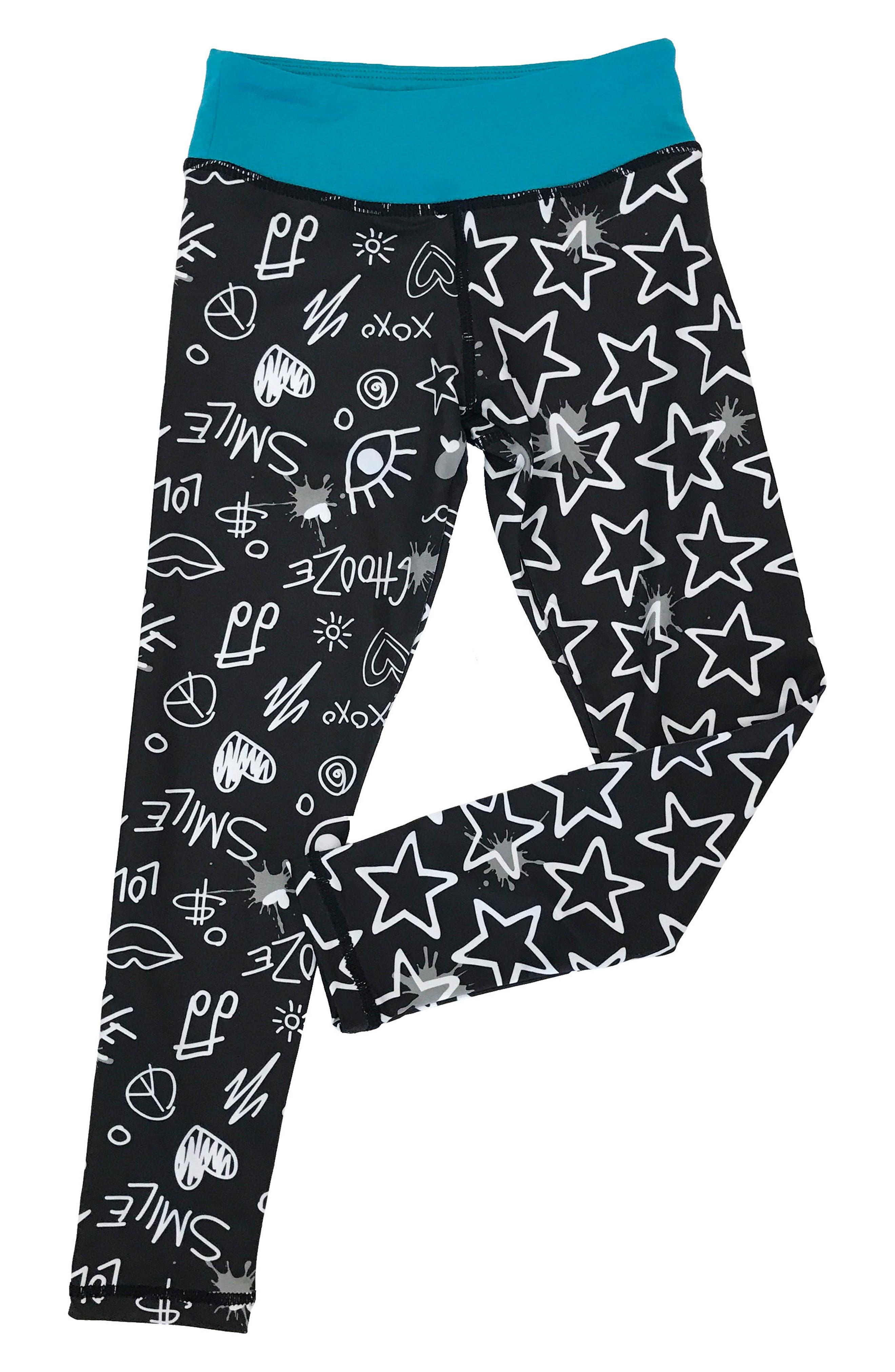 'Splits' Mixed Print Leggings,                             Main thumbnail 1, color,                             Draw Black