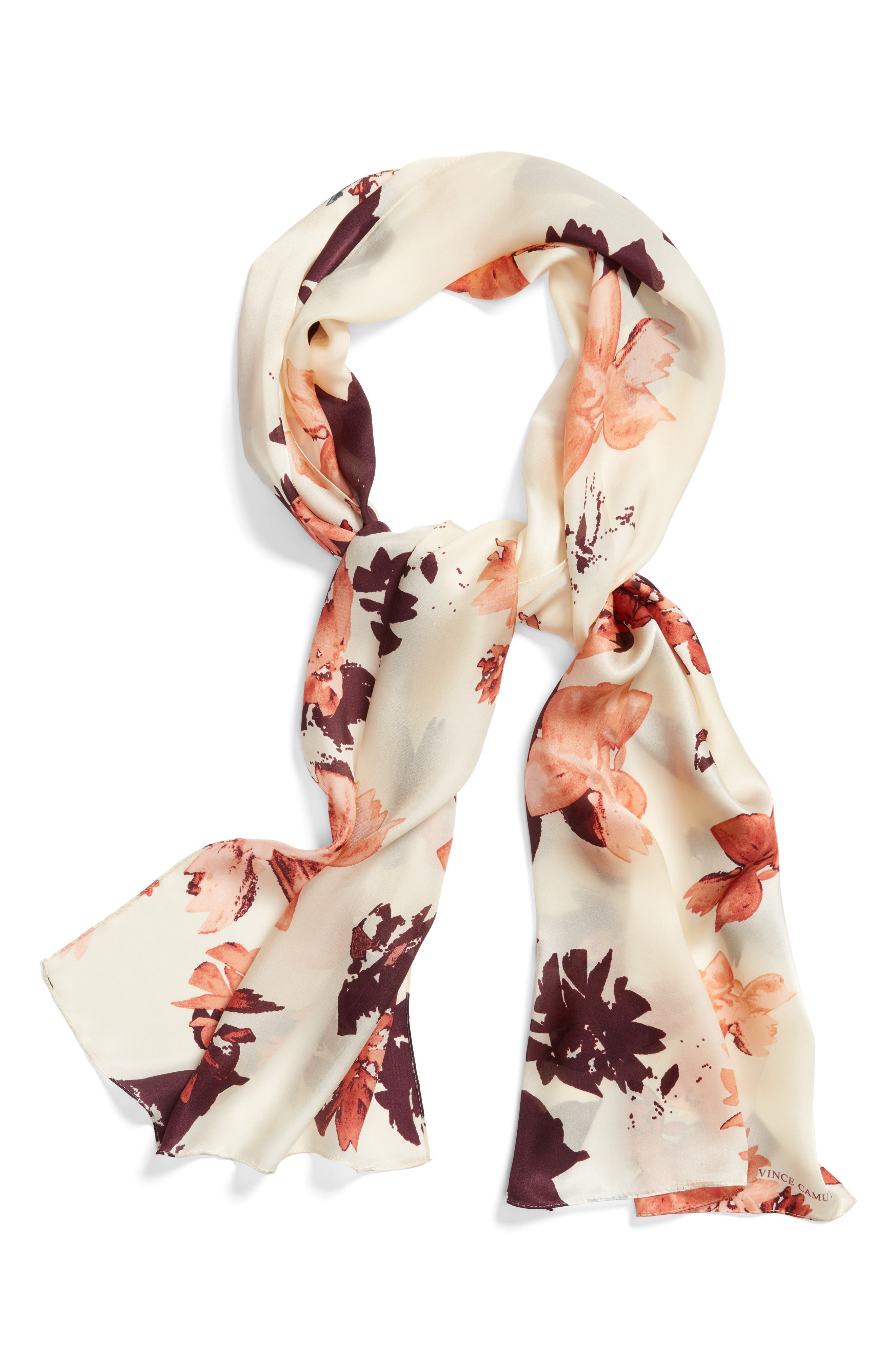 Floral Print Brushed Silk Scarf,                             Alternate thumbnail 3, color,                             Blush