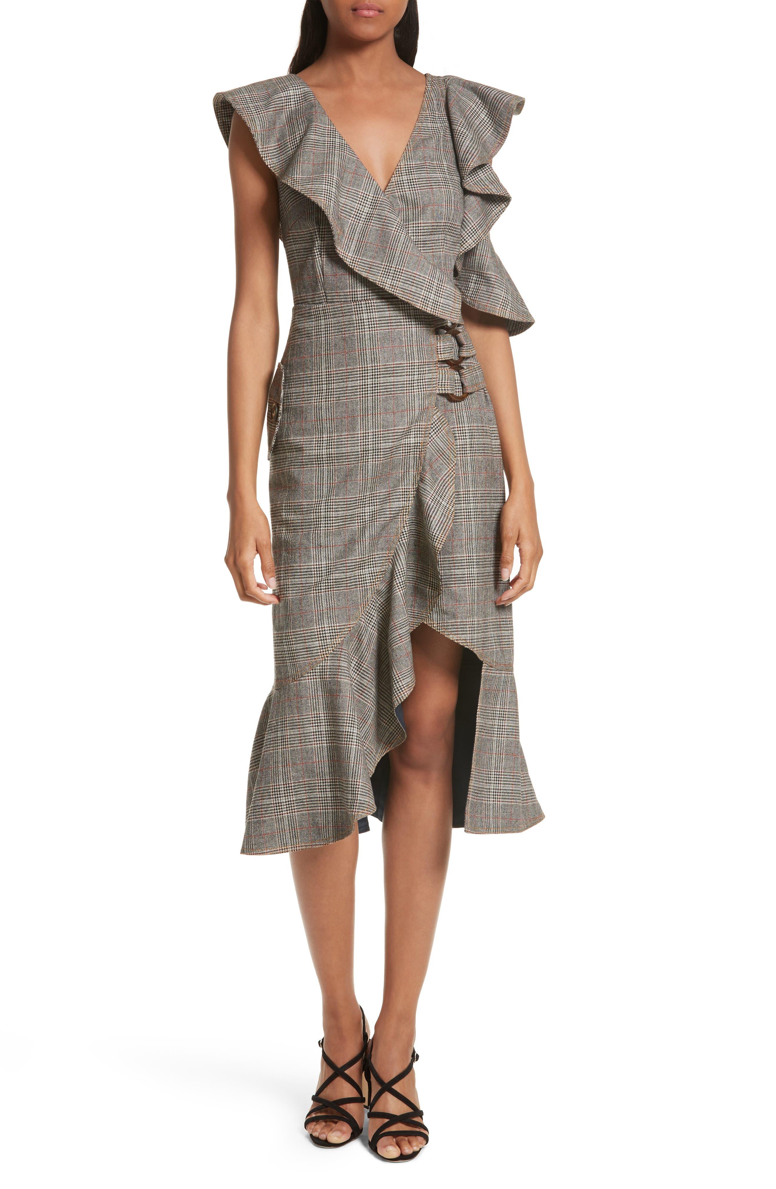 Self-Portrait Check Wool Faux Wrap Dress