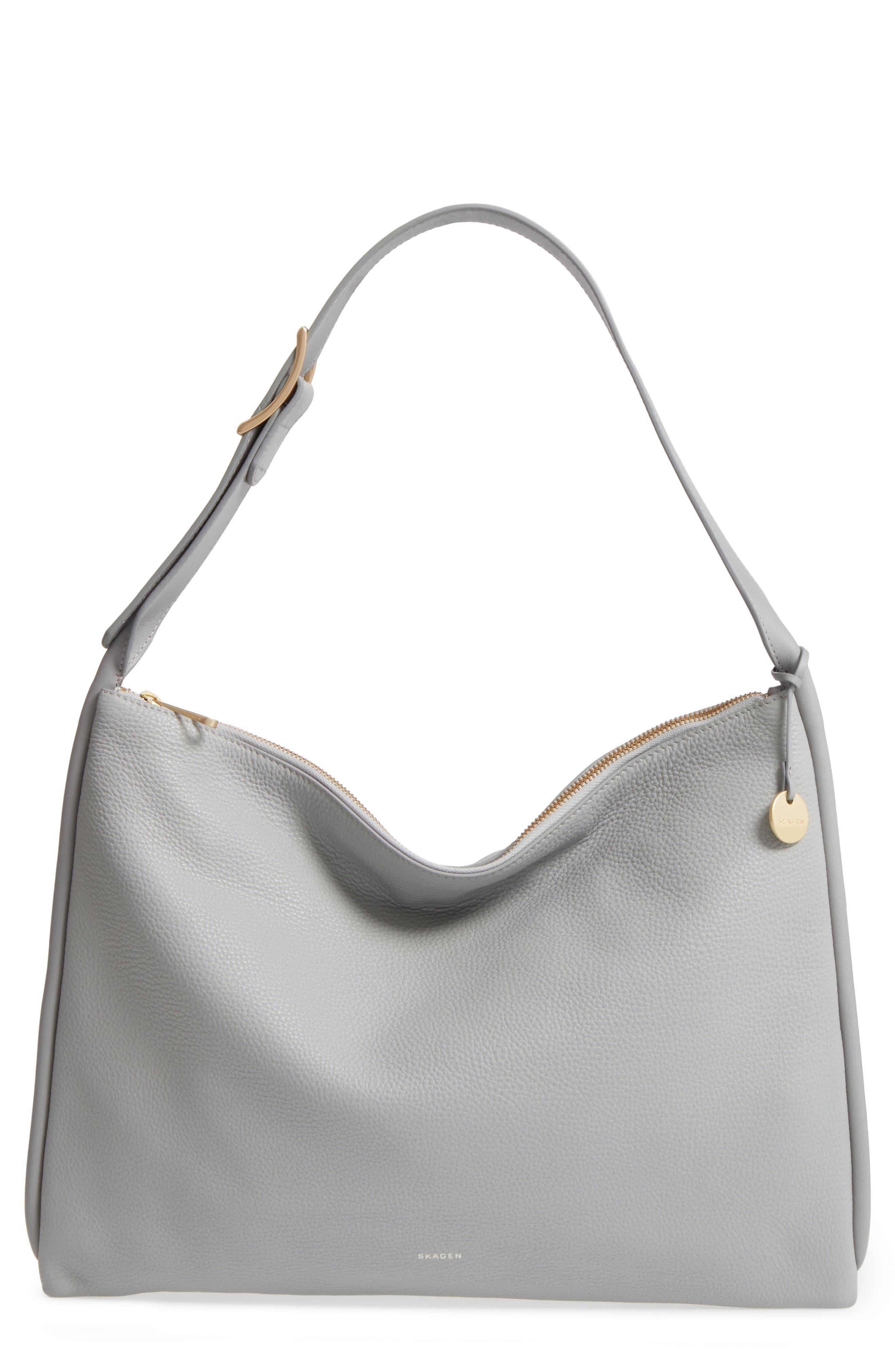 Anesa Leather Shoulder Bag,                         Main,                         color, Light Ash