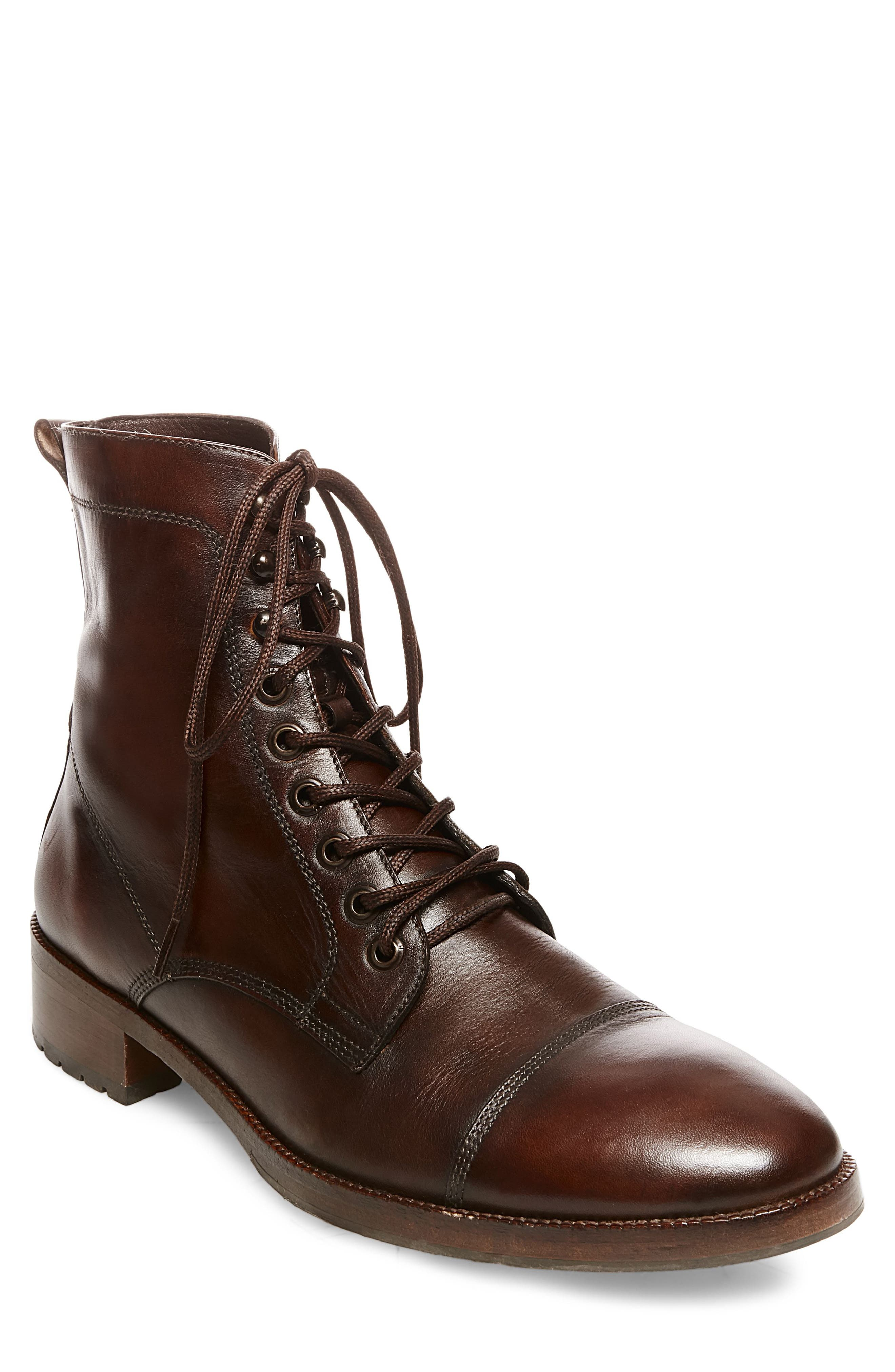 x GQ Ted Cap Toe Boot,                             Main thumbnail 1, color,                             Brown Leather