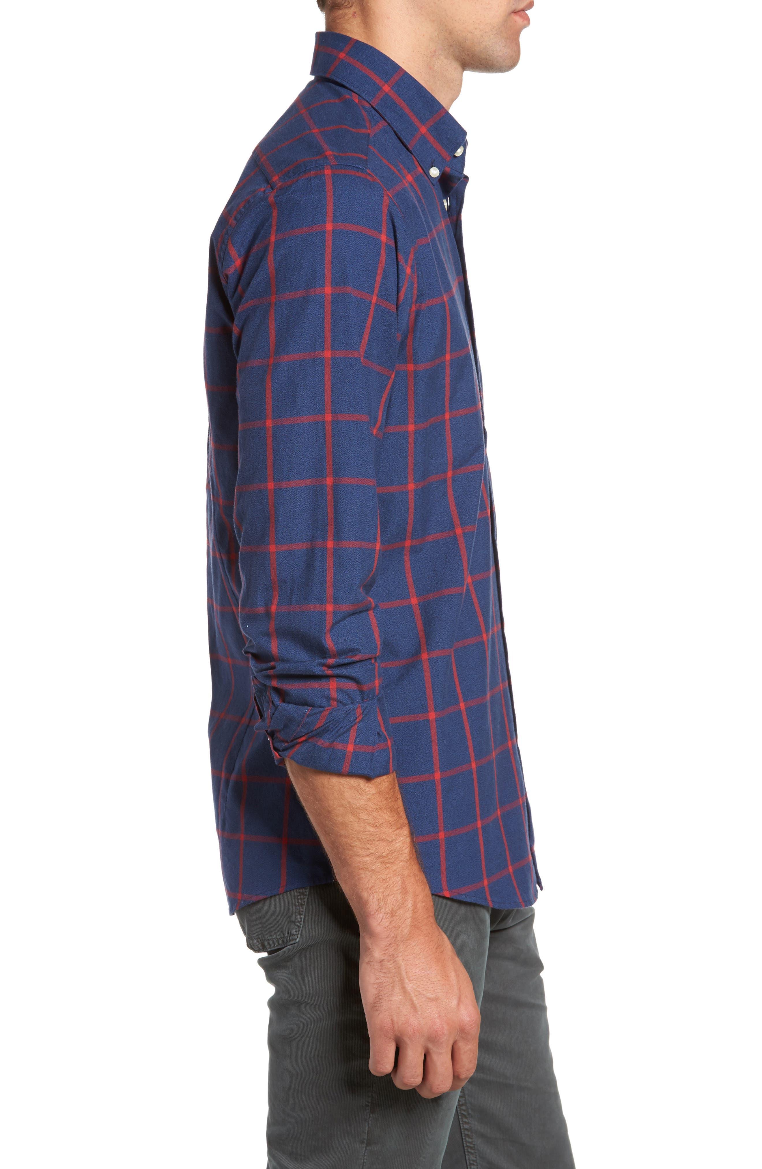 Baxter Tattersall Sport Shirt,                             Alternate thumbnail 3, color,                             Navy