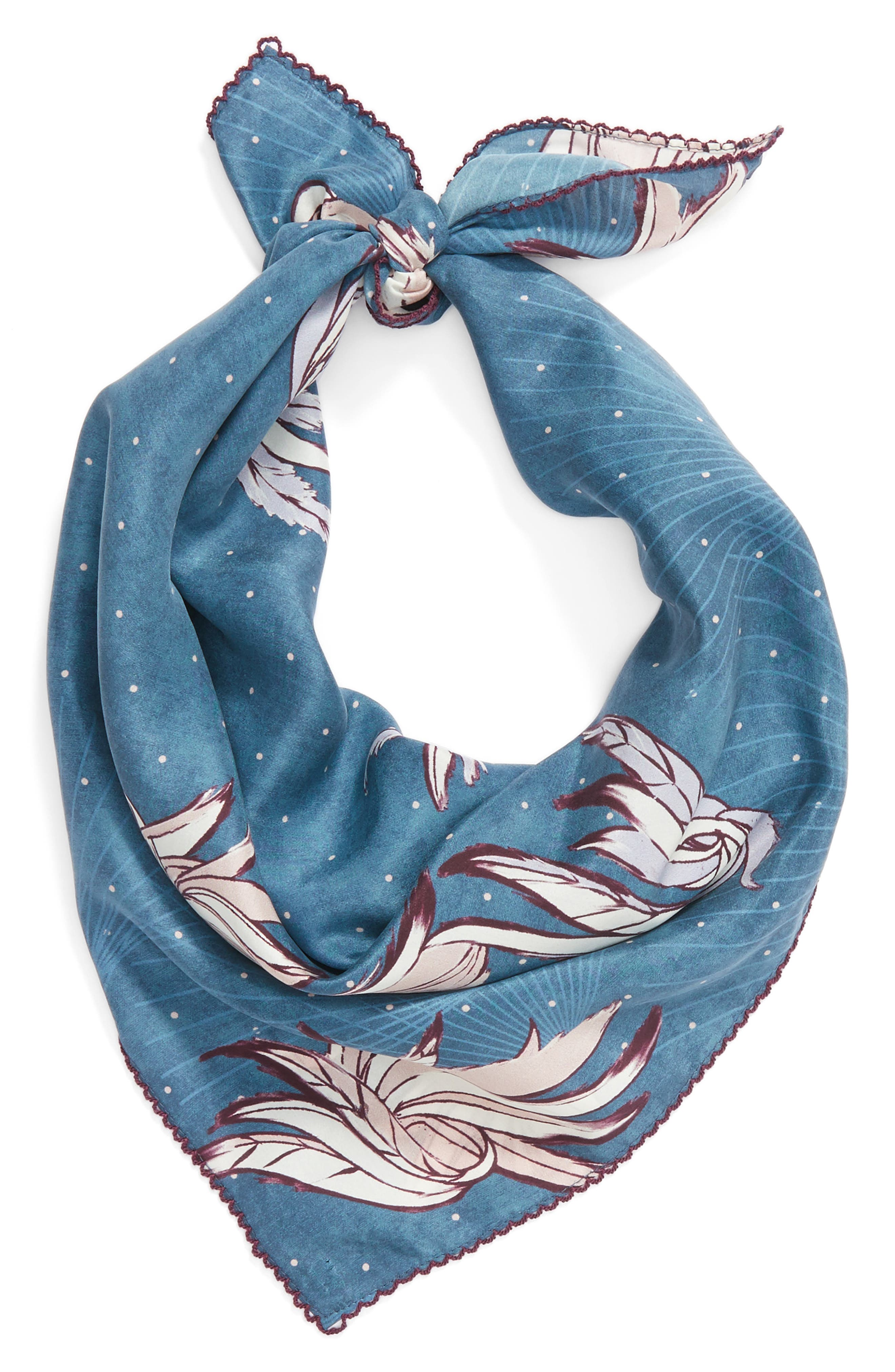 Disco Wings Silk Scarf,                             Alternate thumbnail 3, color,                             Blue Combo