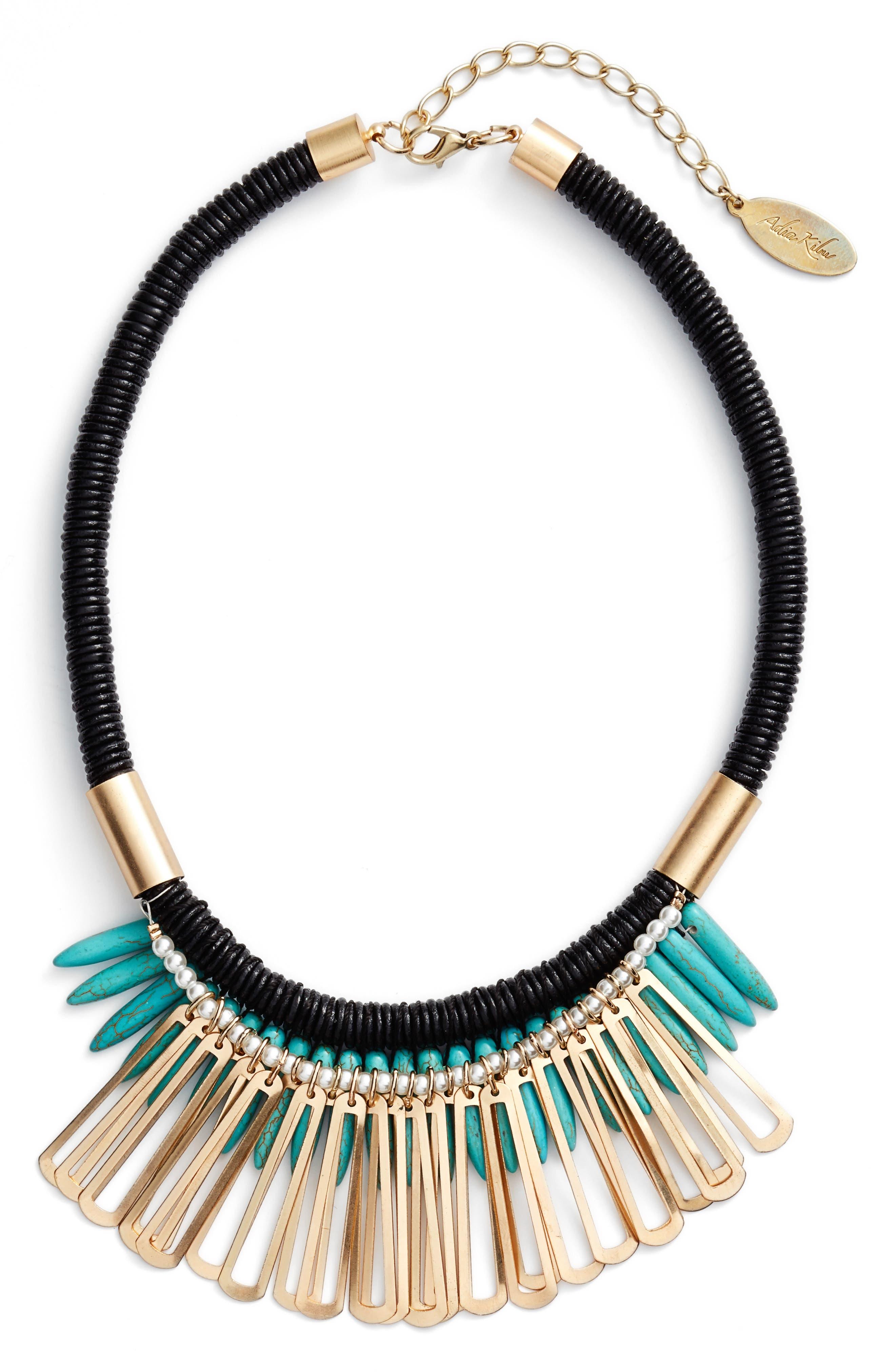 ADIA KIBUR Spike Stone Statement Bib Necklace, Turquoise