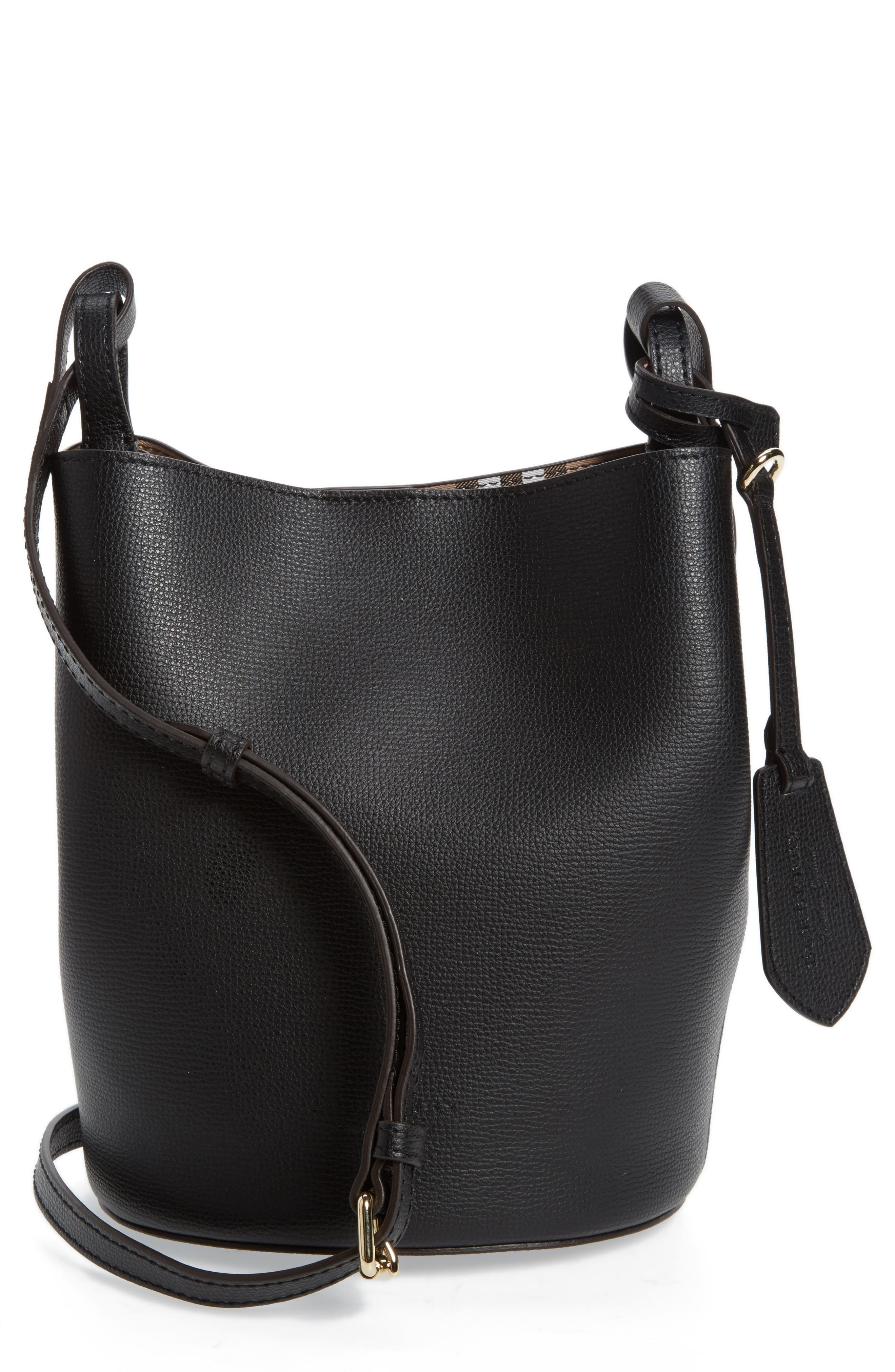 Small Lorne Leather Bucket Bag,                             Main thumbnail 1, color,                             Black