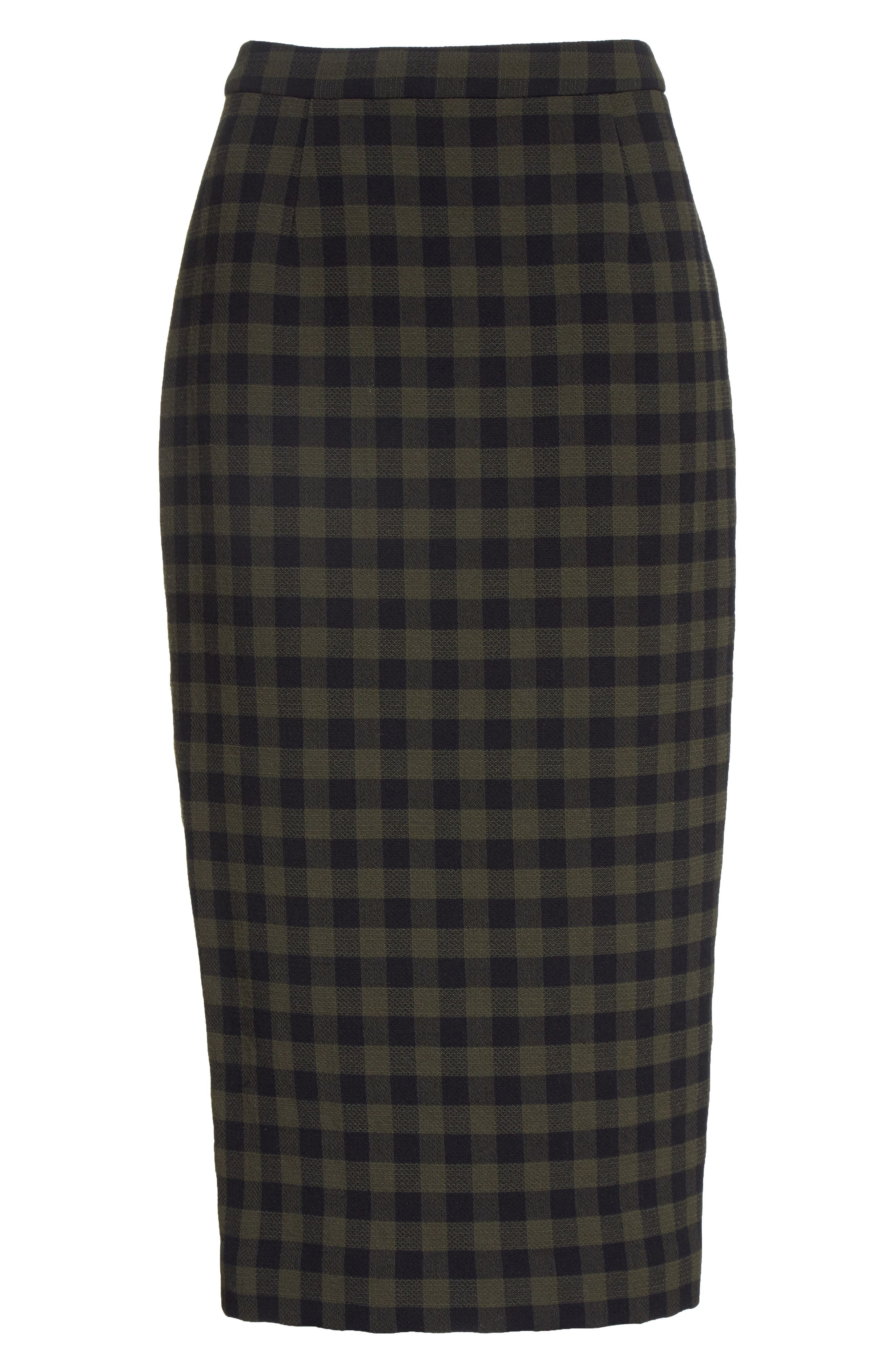 Thea Plaid Wool Pencil Skirt,                             Alternate thumbnail 7, color,                             Army/ Black