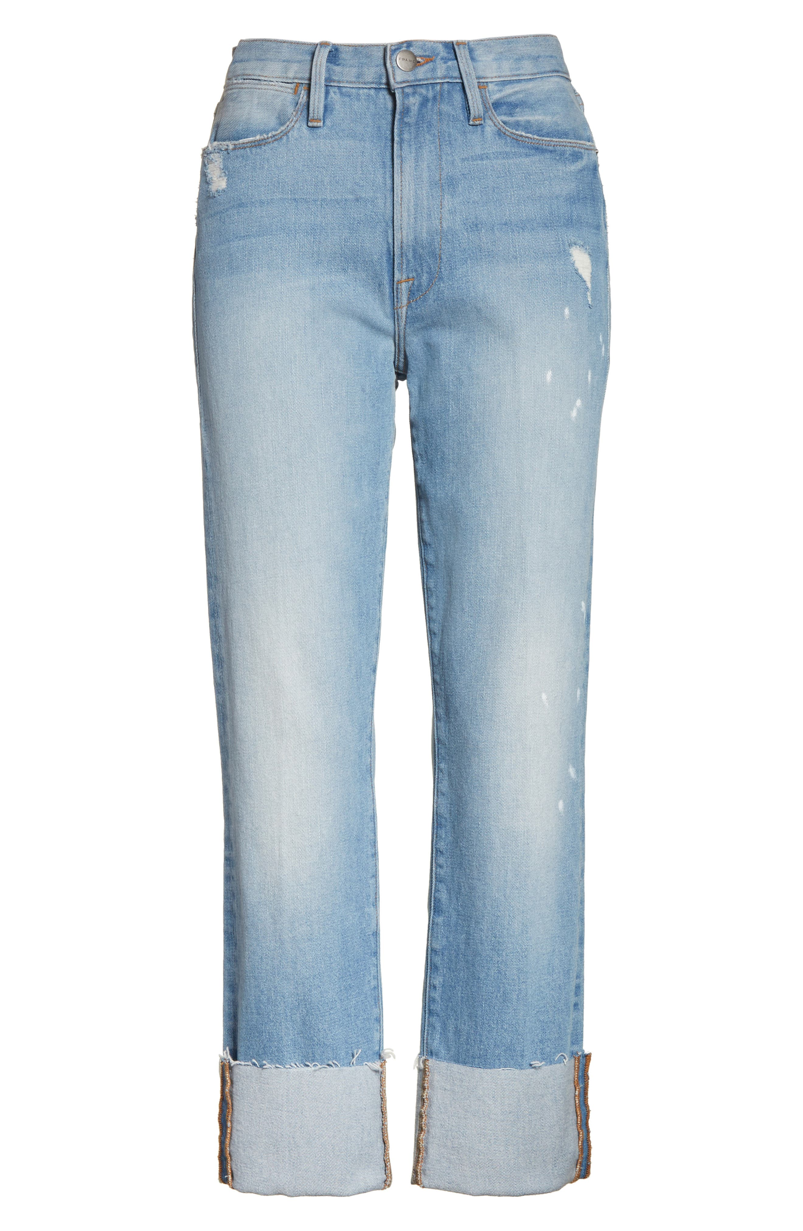 Le High Straight Leg Cuffed Jeans,                             Alternate thumbnail 7, color,                             Berkshire