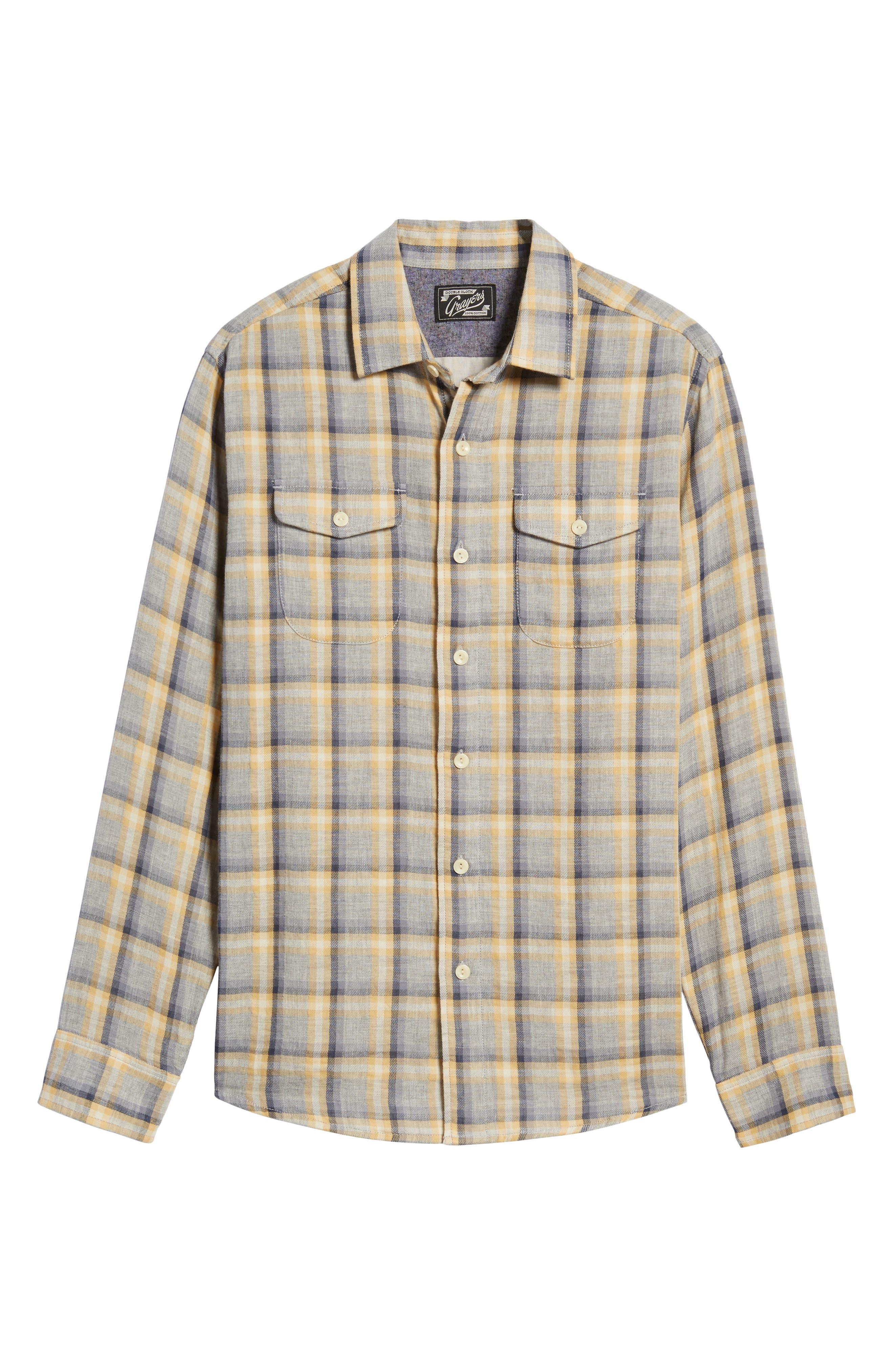 Sheldon Modern Fit Double Cloth Windowpane Sport Shirt,                             Alternate thumbnail 6, color,                             Yellow Stone Gray