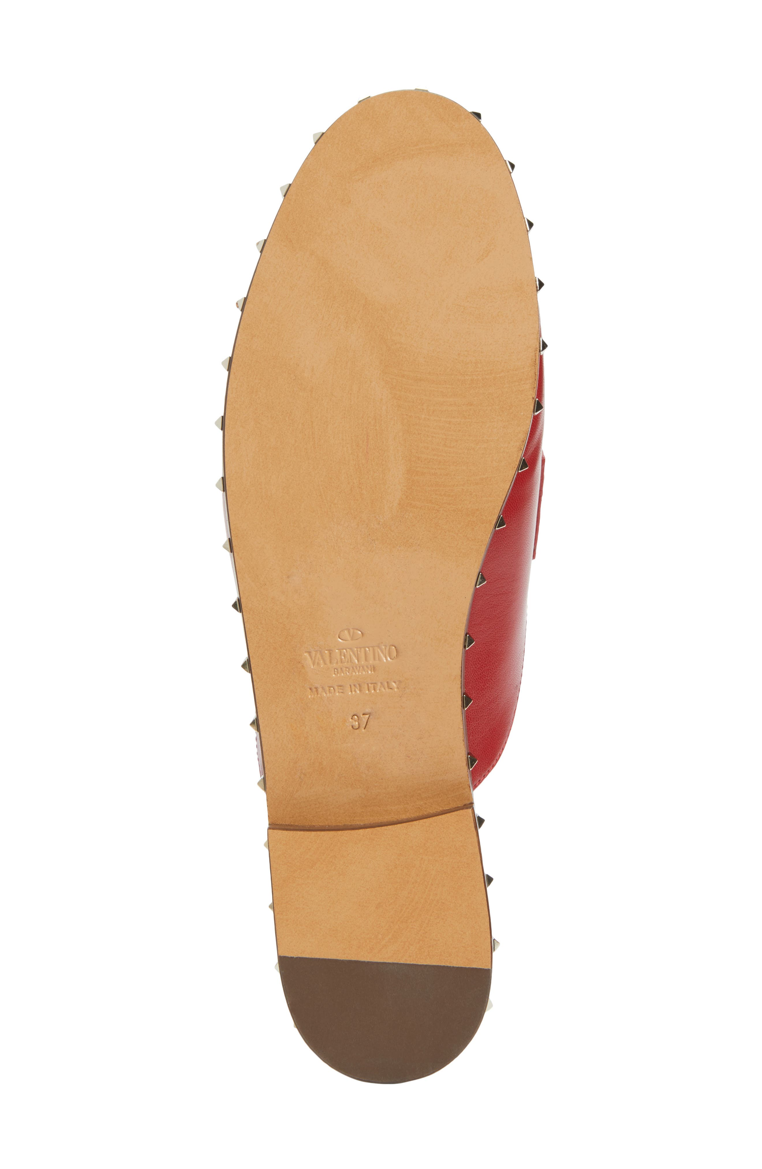 Soul Rockstud Loafer Mule,                             Alternate thumbnail 6, color,                             Red Leather