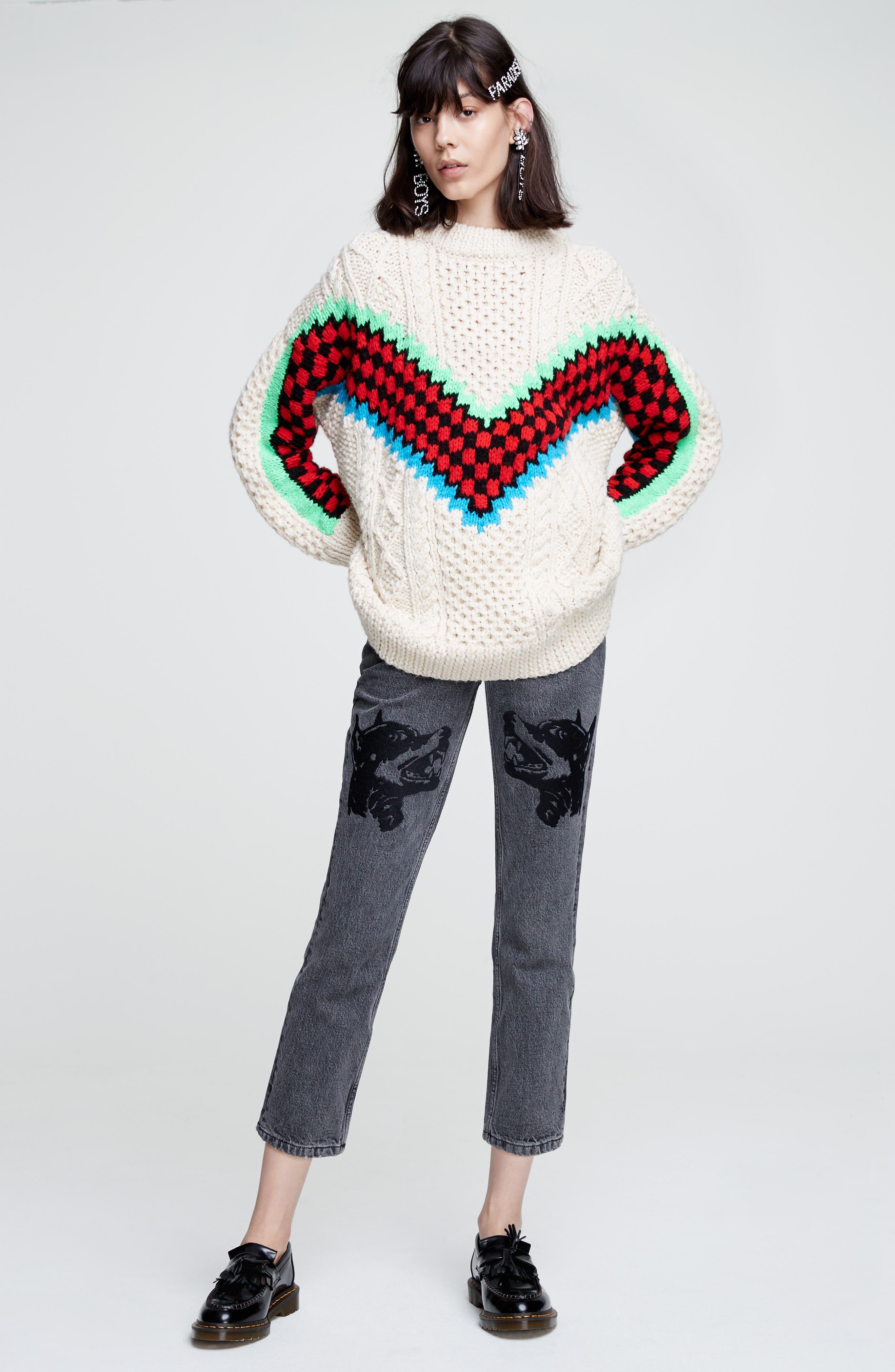 Alternate Image 2  - Ashley Williams Dog Embroidered Jeans (Grey)